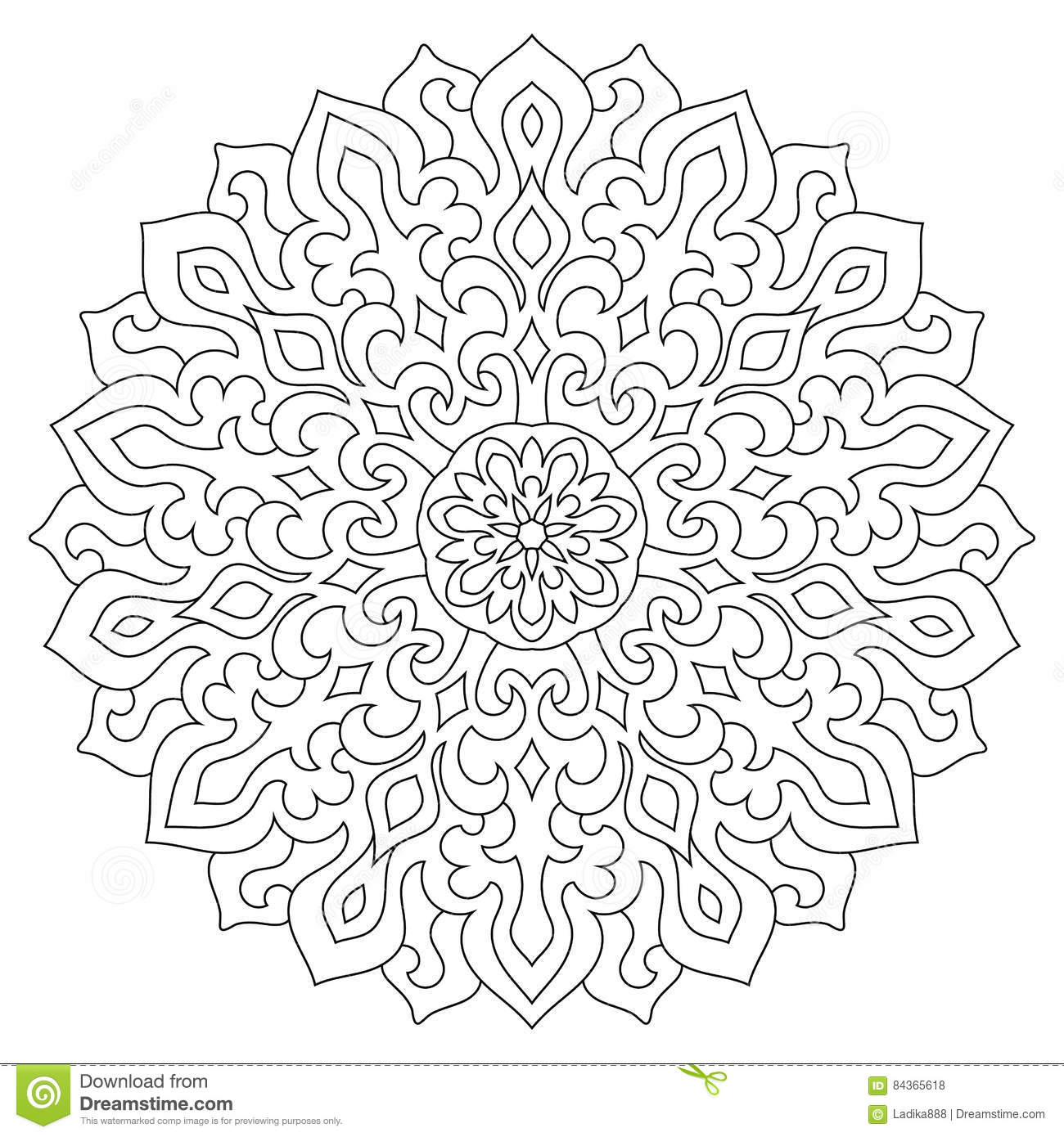 Circular Geometric Ornament Round Outline Mandala For Coloring Page Stock Vector Illustration Of Eastern Element 84365618