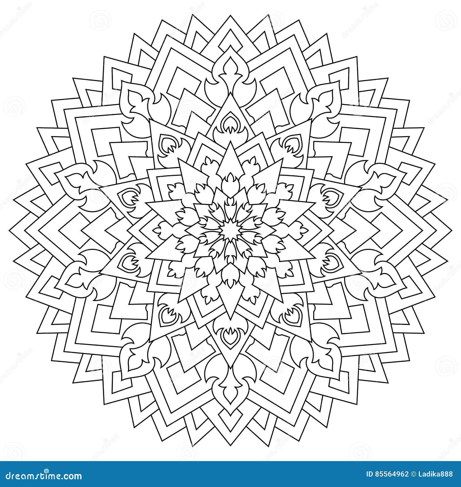 Circular Geometric Ornament Round Outline Mandala For