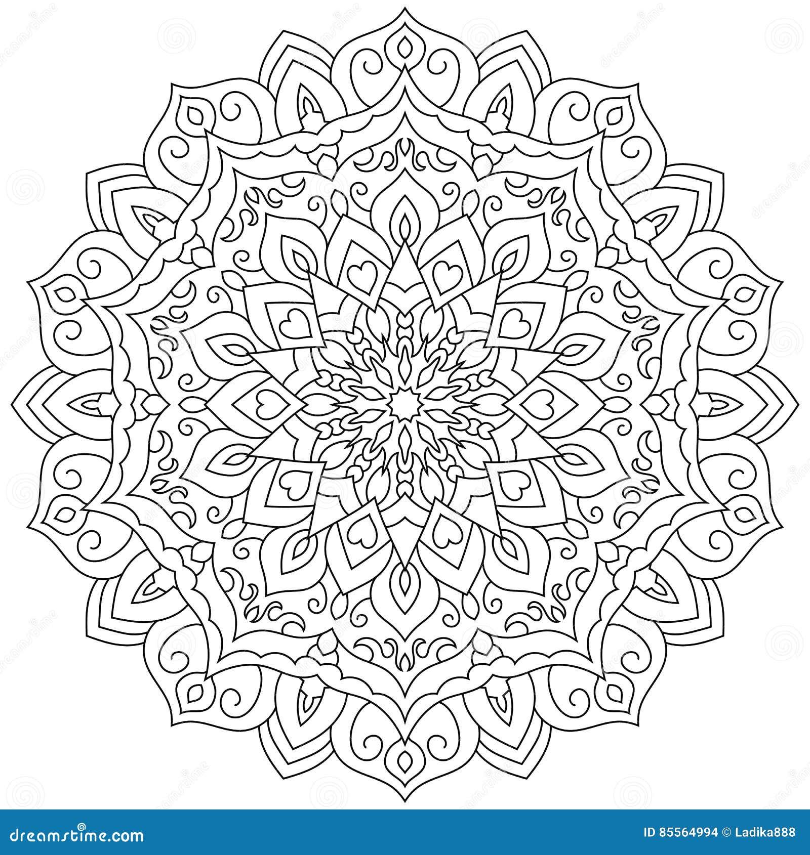 Circular Geometric Ornament. Round Outline Mandala For ...
