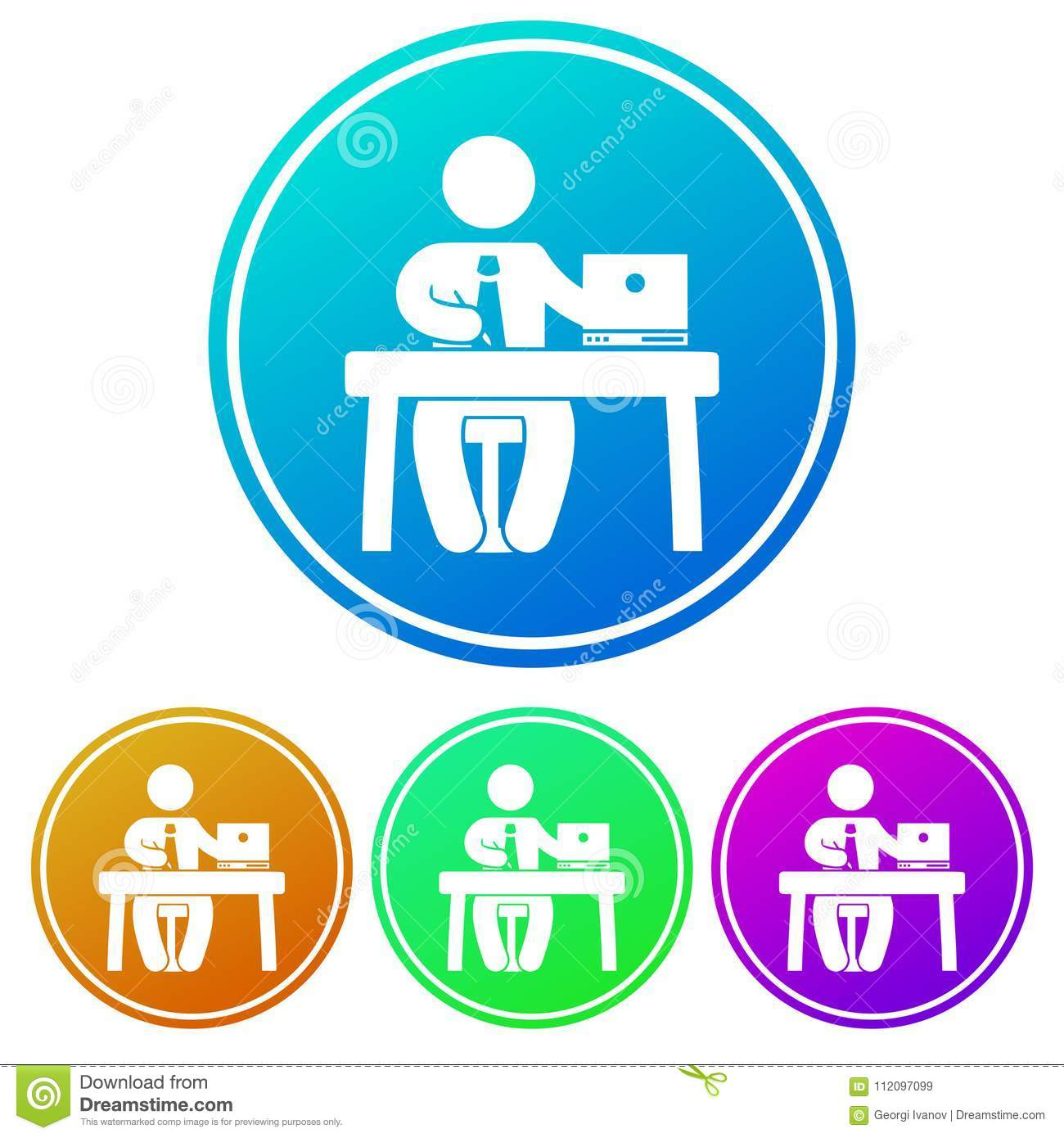 Circular Gradient Icon Of A Man Working At A Desk White Silhouette