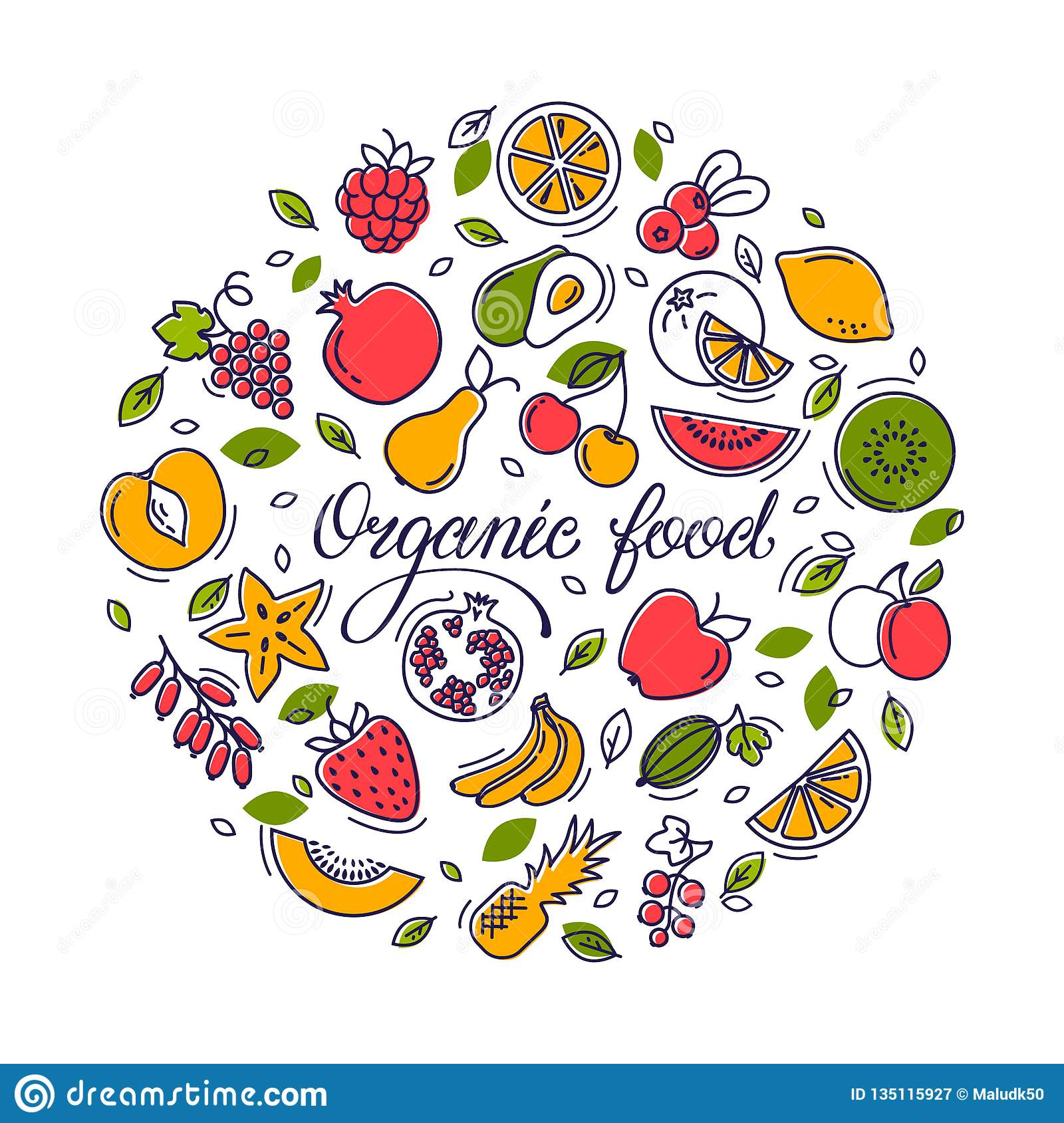 Circular illustration with fruit and text for shop, printing, website design.