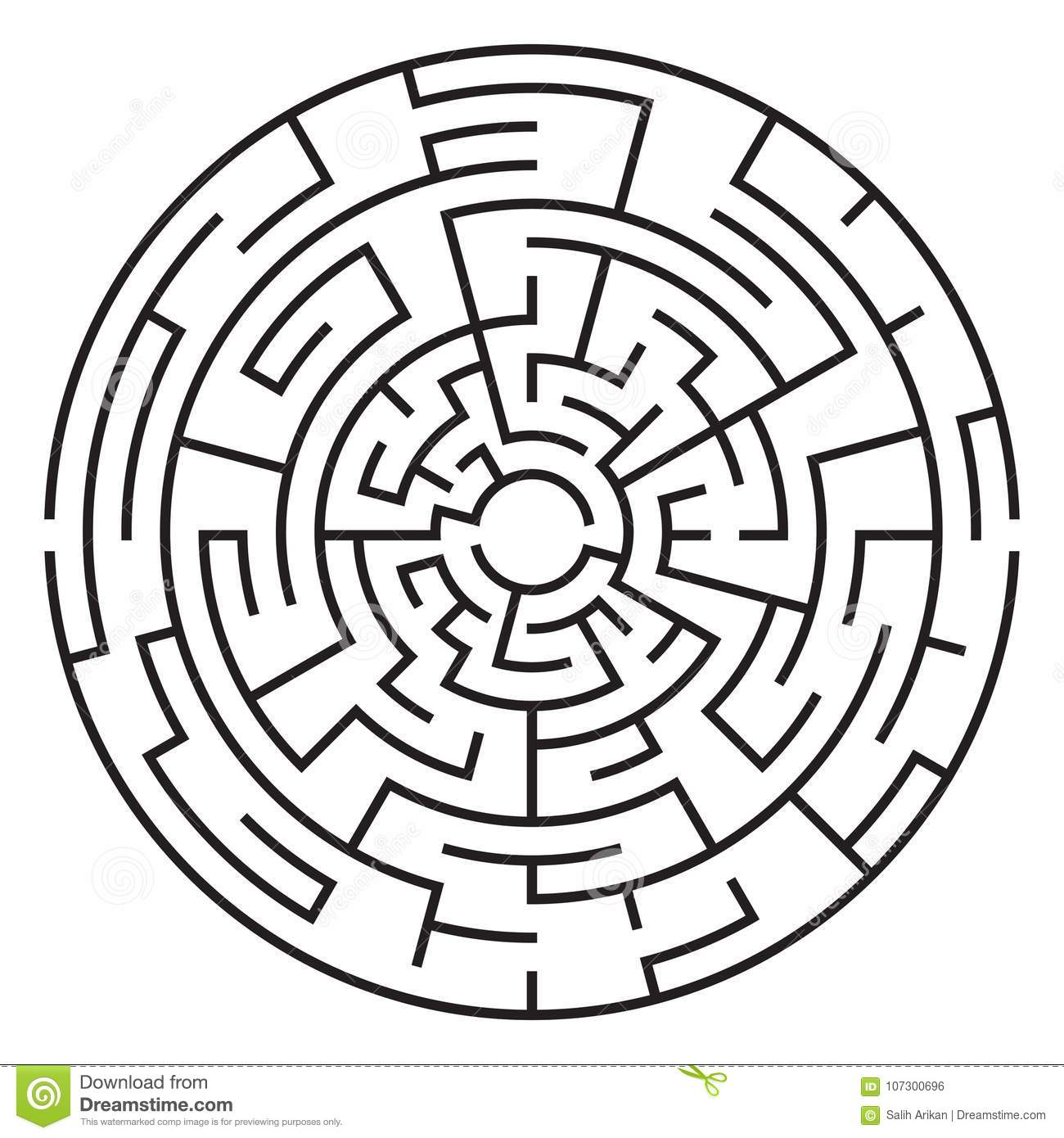 Circular Maze Isolated On White Background  Medium Stock
