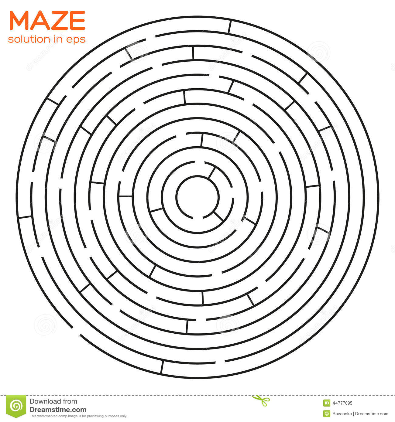 Circular Maze With Solution In Eps Stock Vector - Image: 44777095