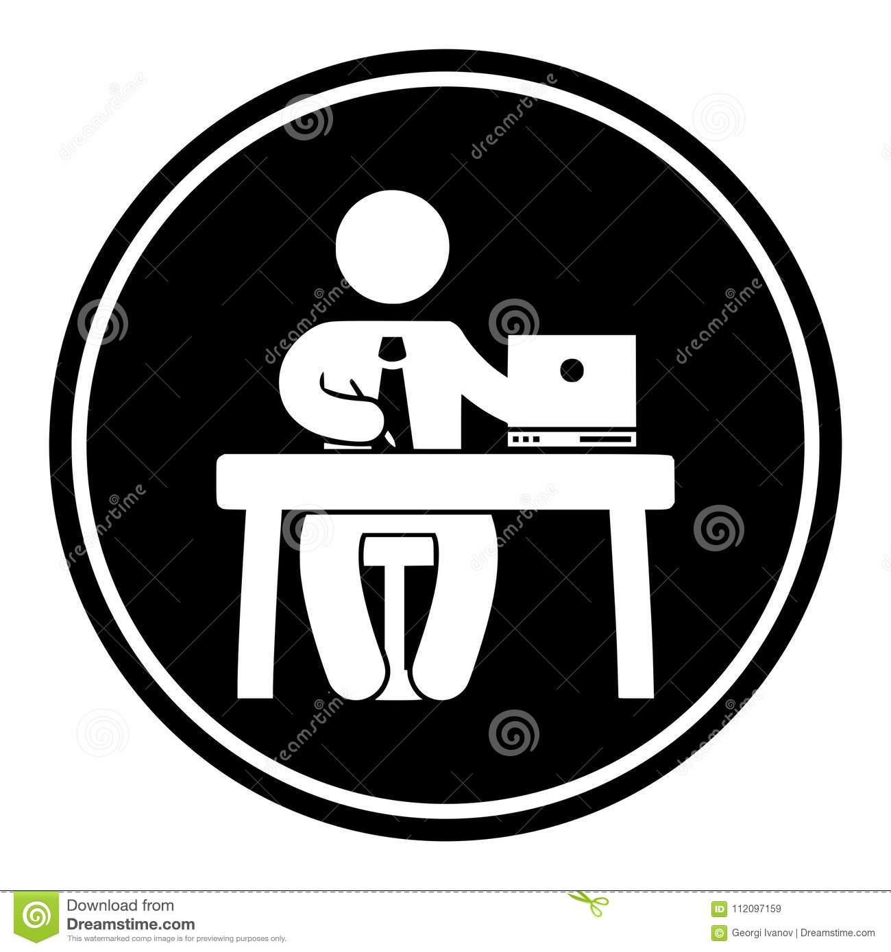 Circular Monochrome Icon Of A Man Working At A Desk White
