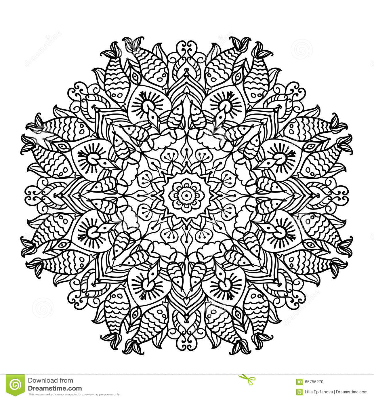 Circular Pattern Mandala With Elements Of Ethnic Animal Style ...