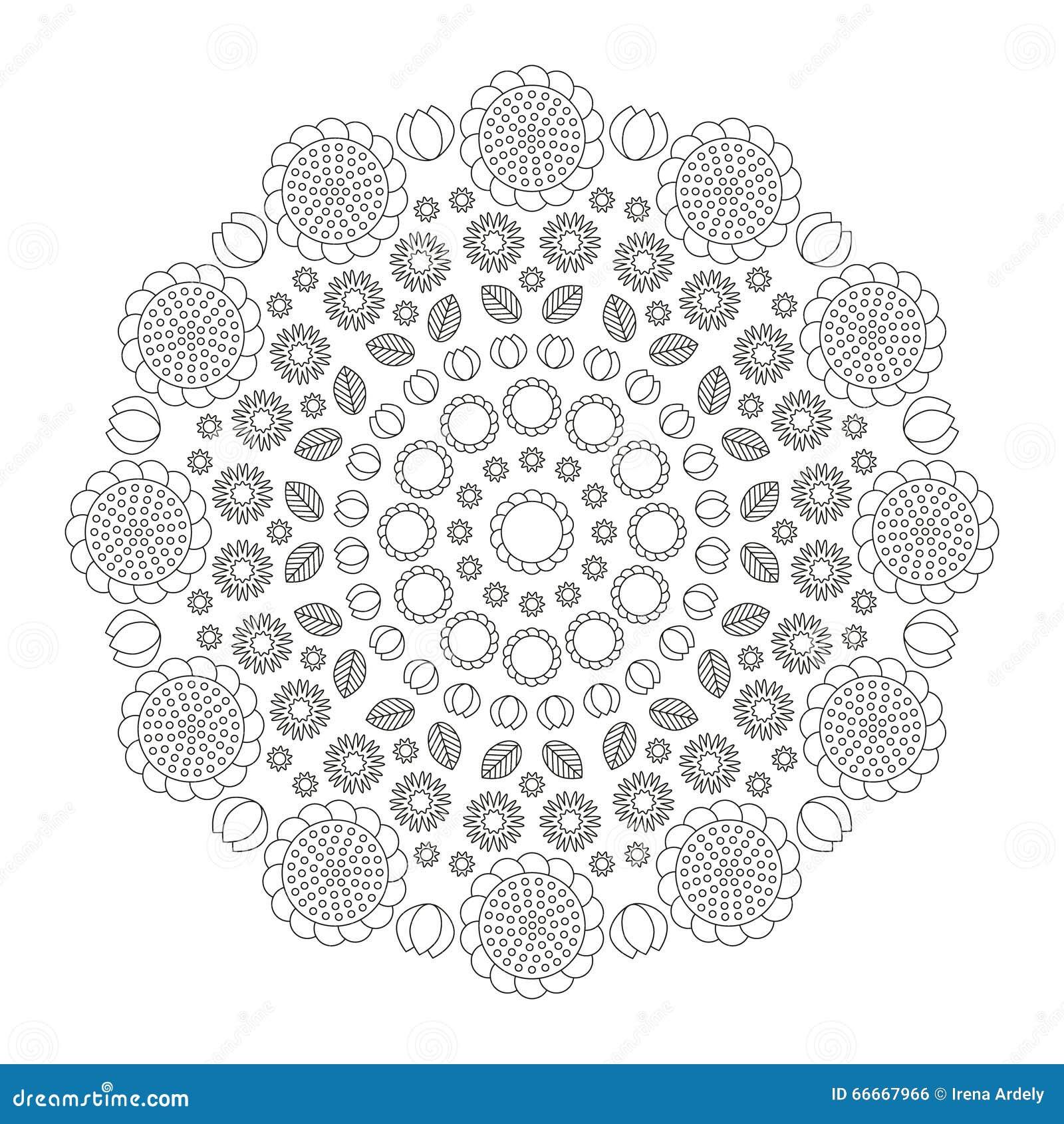 Circular Pattern Mandala Funny Spring Flowers Black And