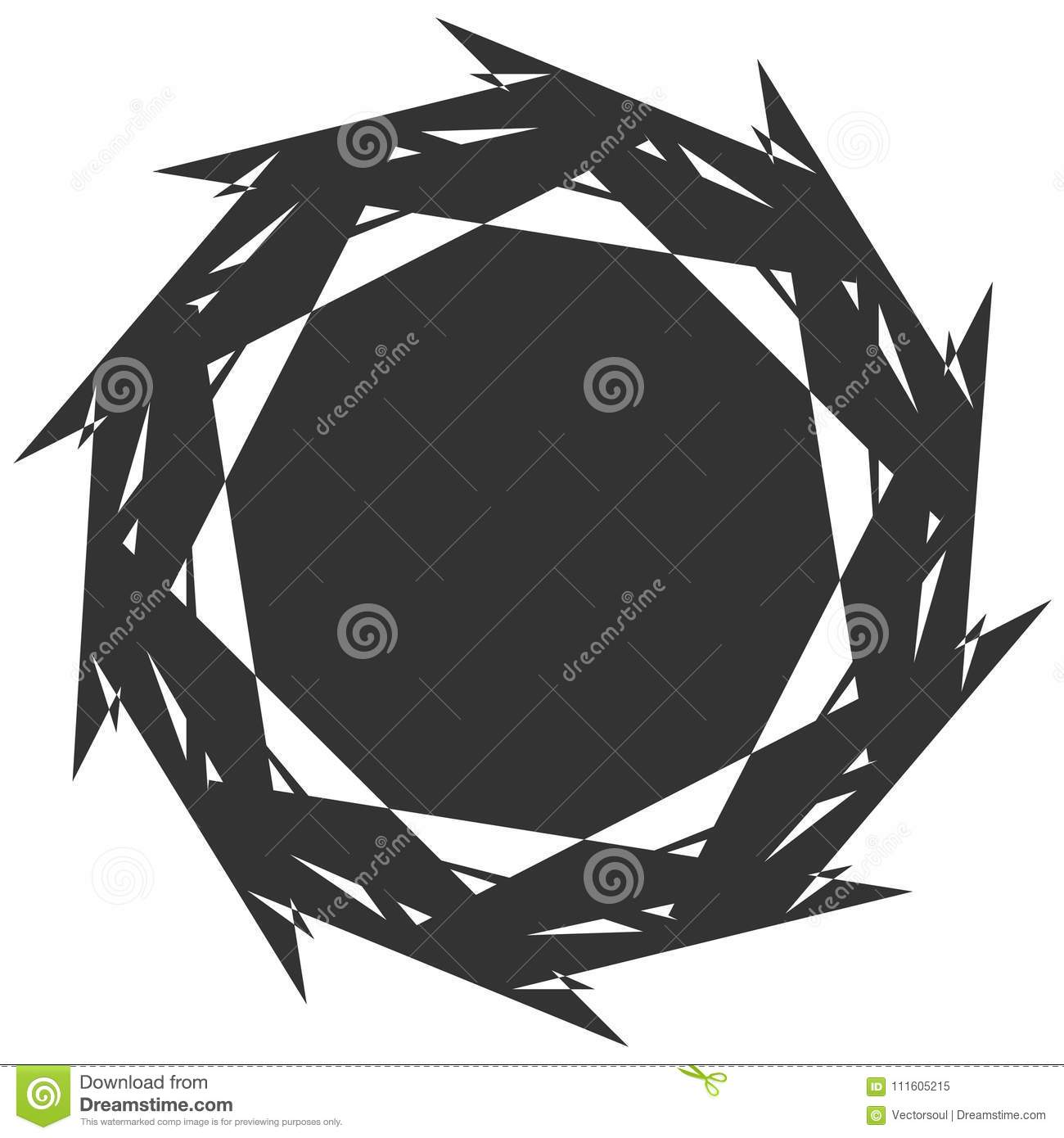 Circular, radial abstract element on white. Radiating shape with