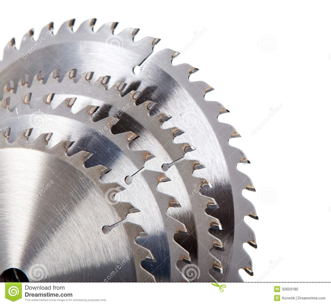 Circular saw blade for wood with hard alloy insertions on a white background