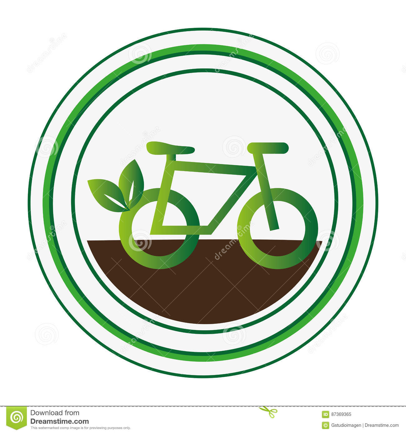Circular Stamp With Eco Bike
