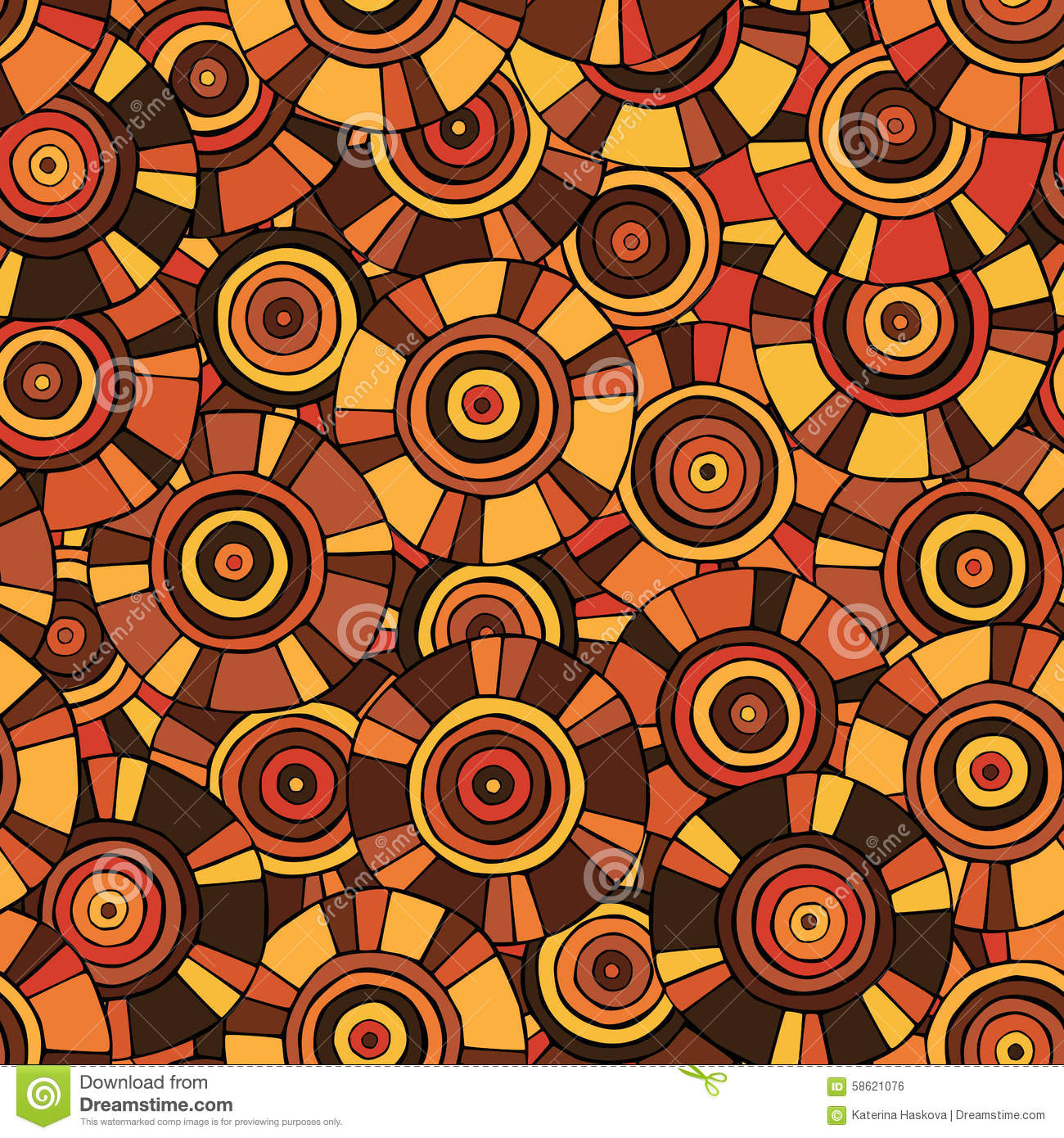 Circular, Tribal Pattern With Motifs Of African Tribes