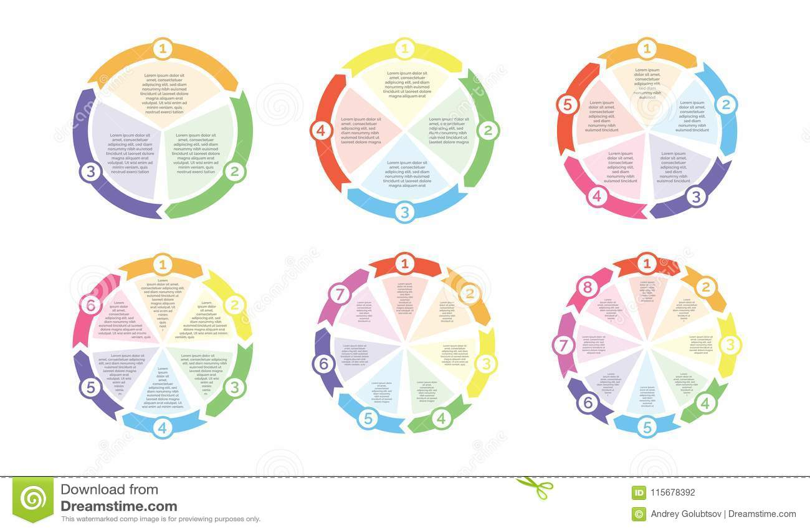 Circunde el diagrama del organigrama de los números del vector de las flechas de la carta del ciclo para la presentación