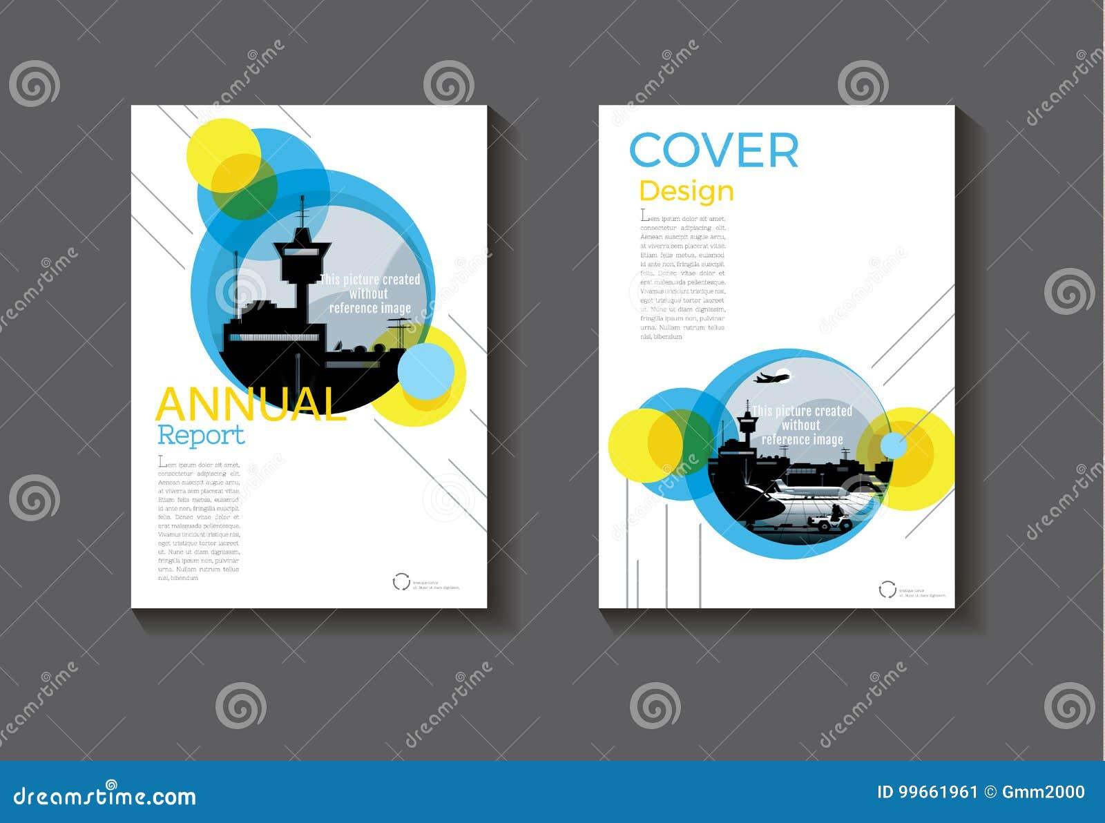 Circunde el extracto moderno de la cubierta de la cubierta de libro del diseño del azul y del amarillo