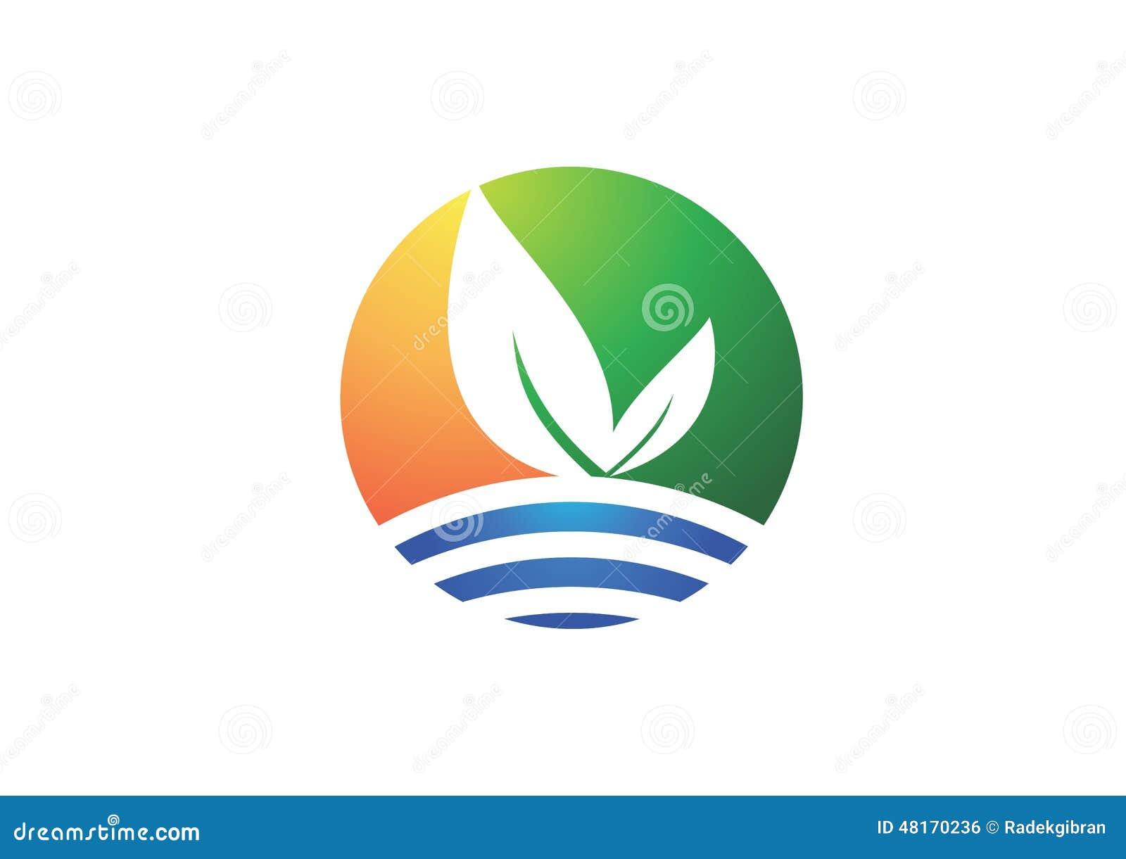 Circunde el logotipo de la planta de la naturaleza, símbolo de la hoja, icono corporativo de la compañía