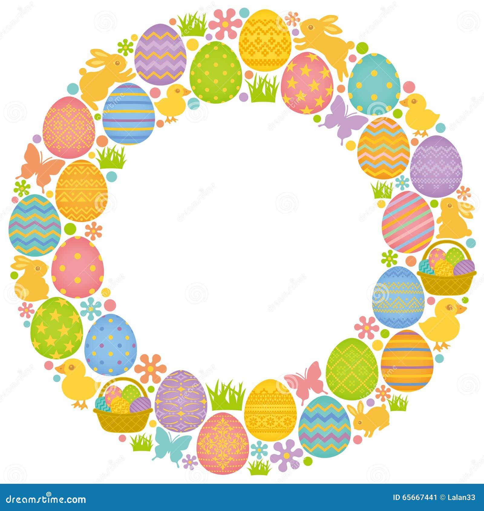 Circunde el marco con los huevos, los conejitos y los polluelos de Pascua