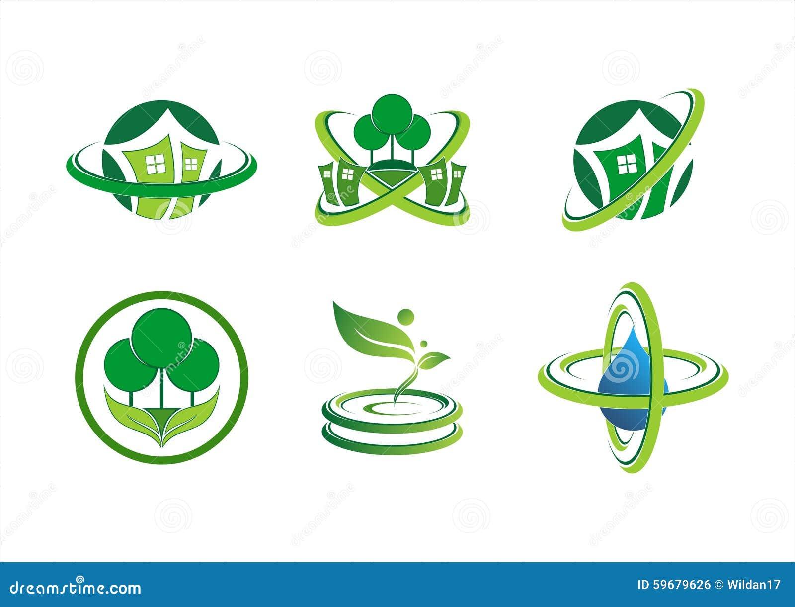 Circunde o logotipo home da planta da conexão, construção de casa, paisagem, bens imobiliários, ícone verde do símbolo da naturez