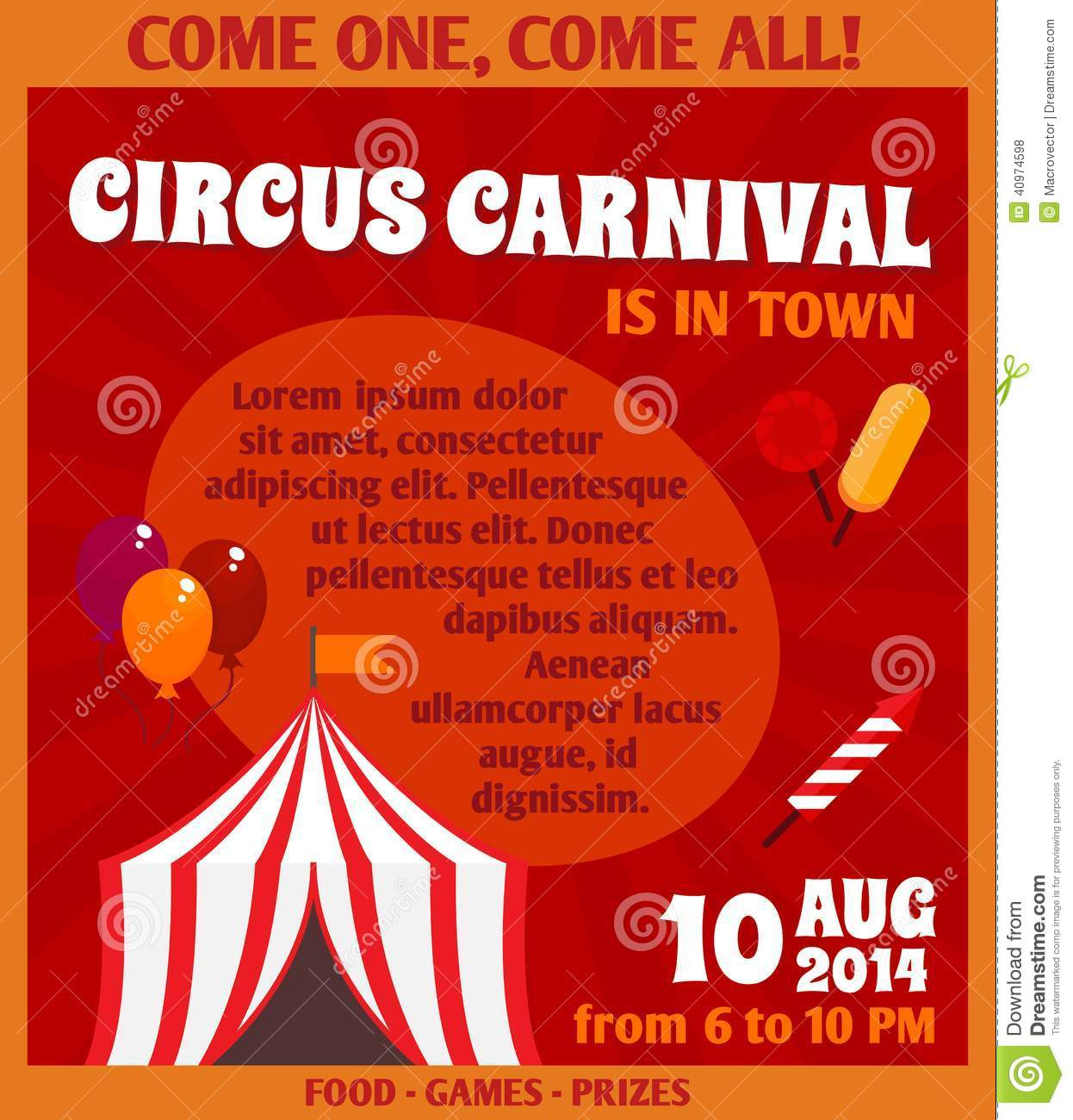 Circus advertising poster stock vector. Illustration of ...