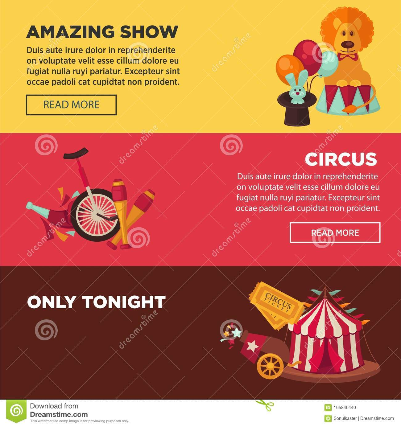 circus with amazing show advertisement web pages templates stock