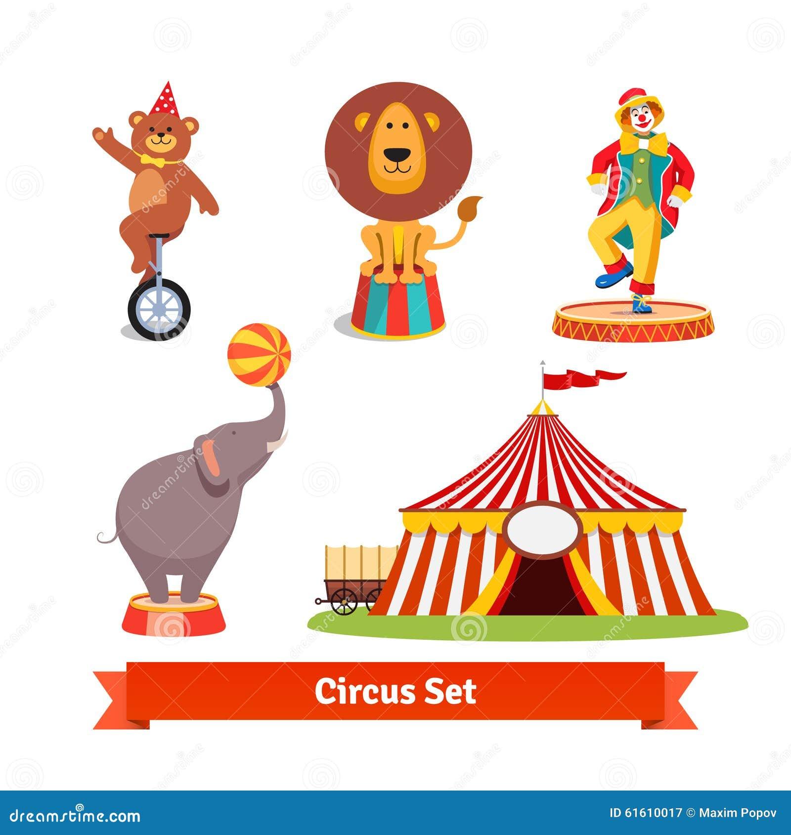 Circus Animals Bear Lion Elephant Clown Stock Vector