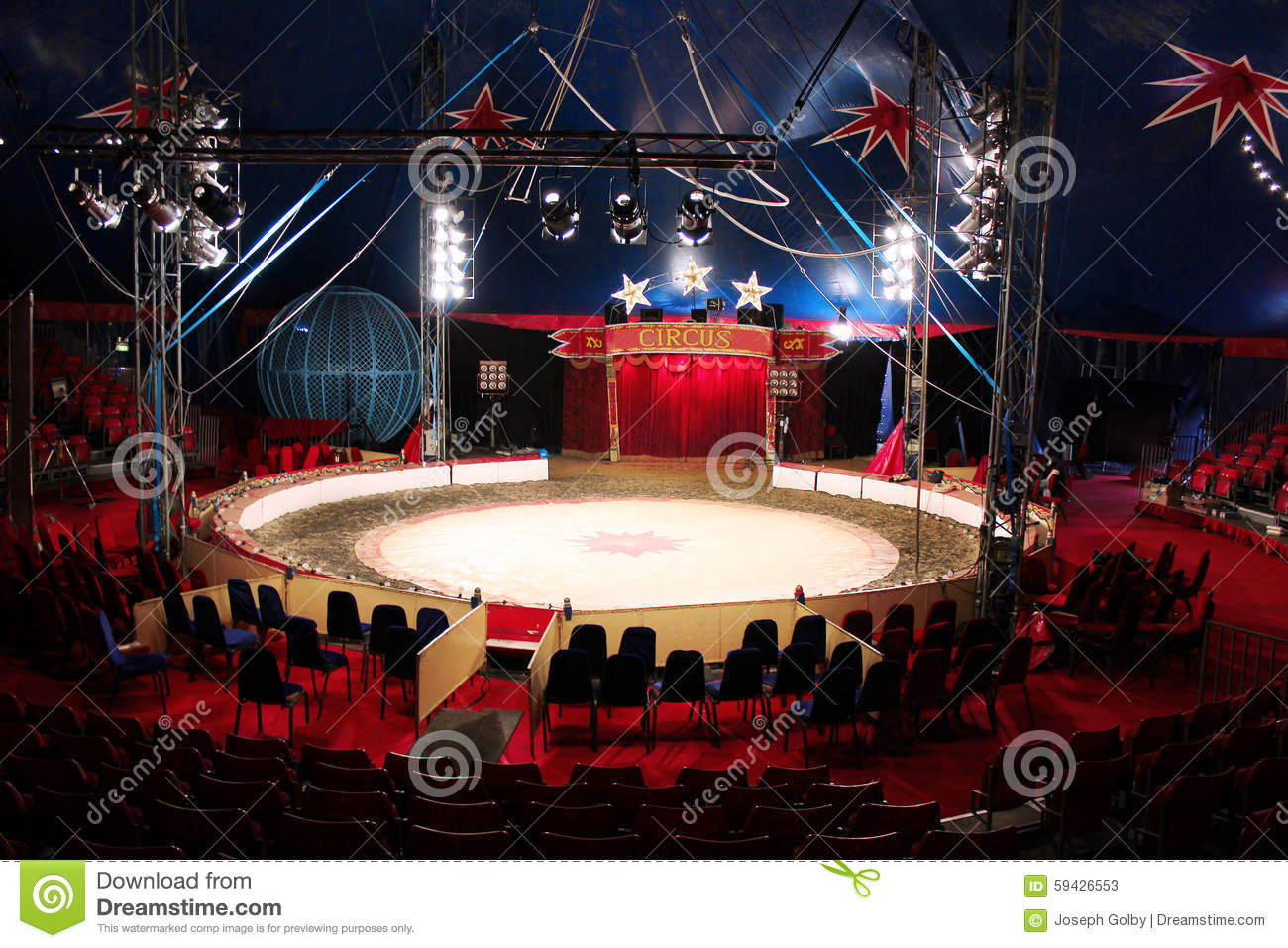 Circus ring arena inside big top tent stock image image for Interieur u arena