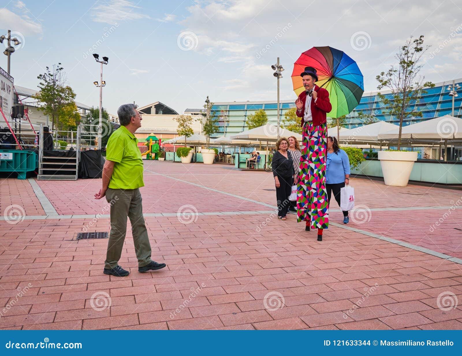 Circus artist on stilts