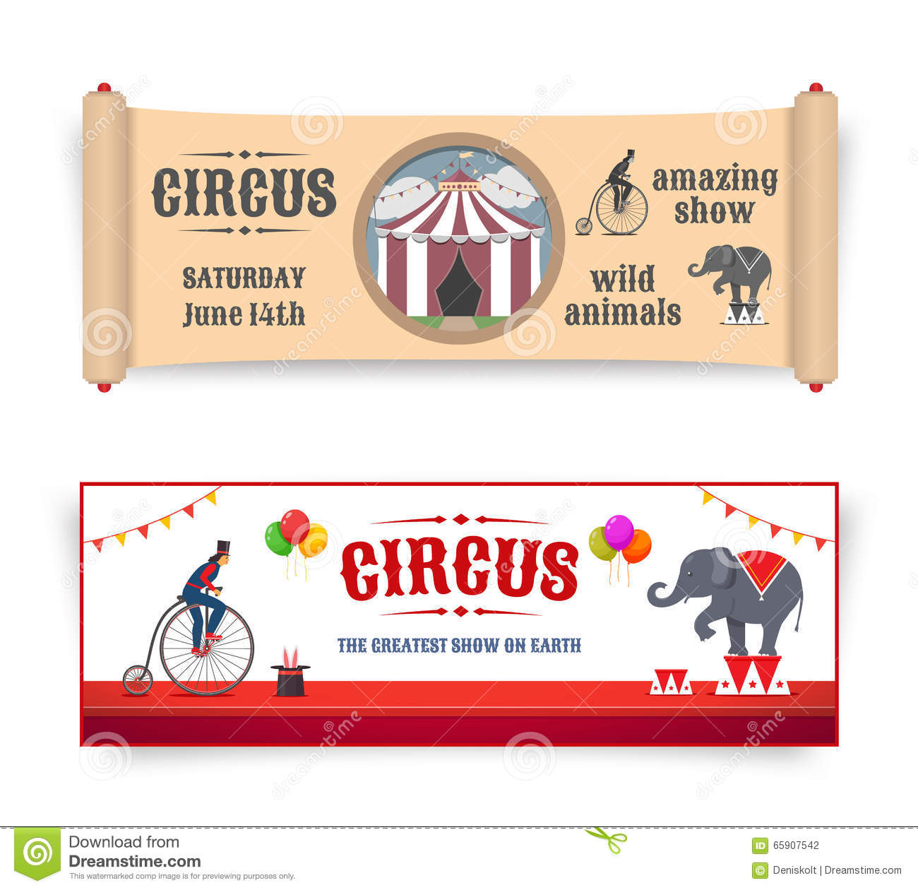 Circus banners illustrations