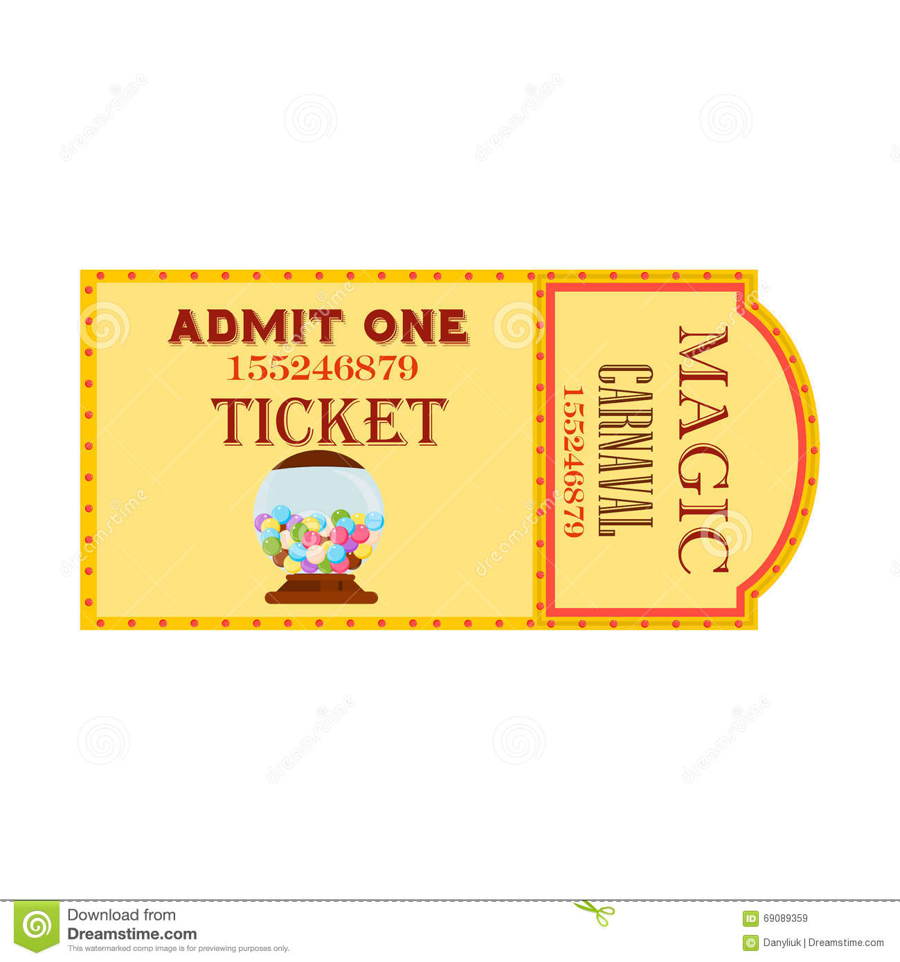 Circus Big Magic Show With Trained Animals Two Vintage Entrance Tickets Templates Set Abstract ...