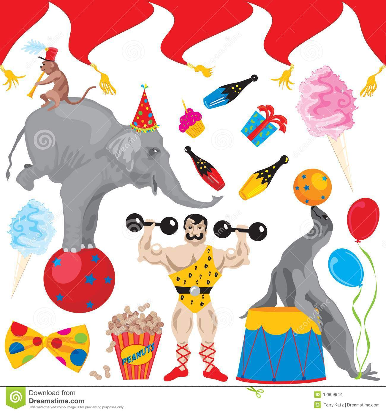 Circus Birthday Party Clip Art Icons Stock Images - Image: 12609944
