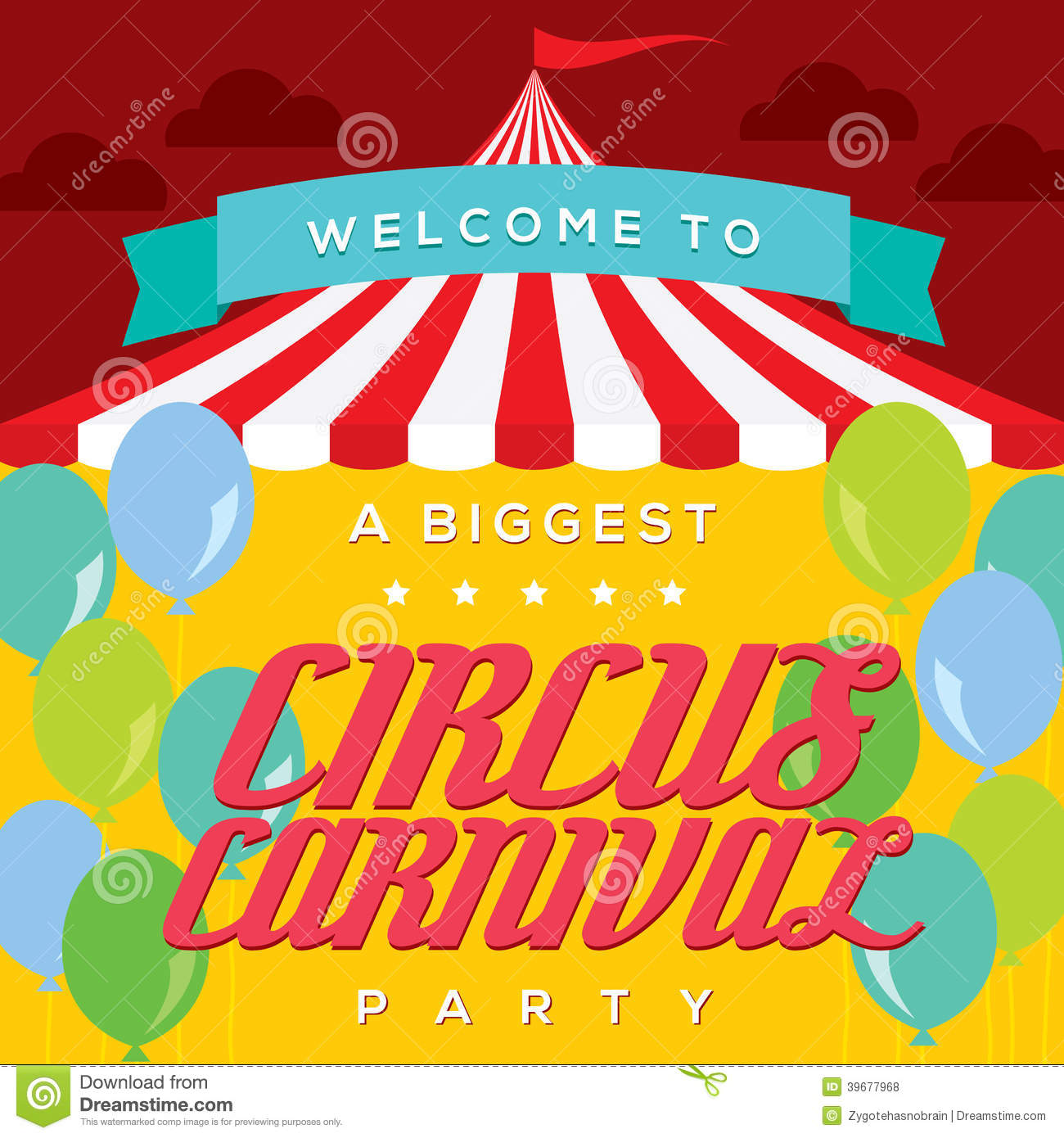 Vintage Carnival Poster Template Stock Vector - Image: 40411356