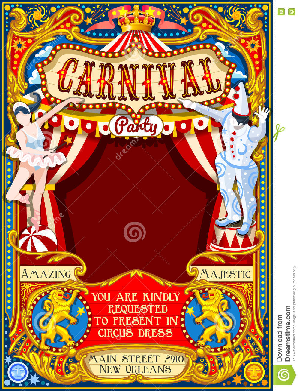 Circus Juggler Show Retro Template Cartoon Poster Invite Kids Game Birthday Party Insight Carnival Festival Background Juggling Acrobatic Cabaret Vintage