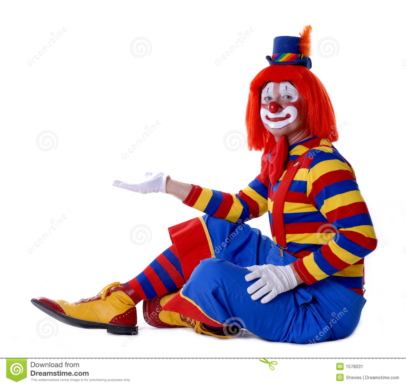 Sitting circus clown holding your product in his hand.