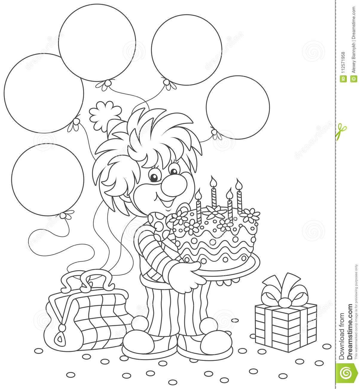 Circus Clown With Birthday Cake Stock Vector - Illustration of ...