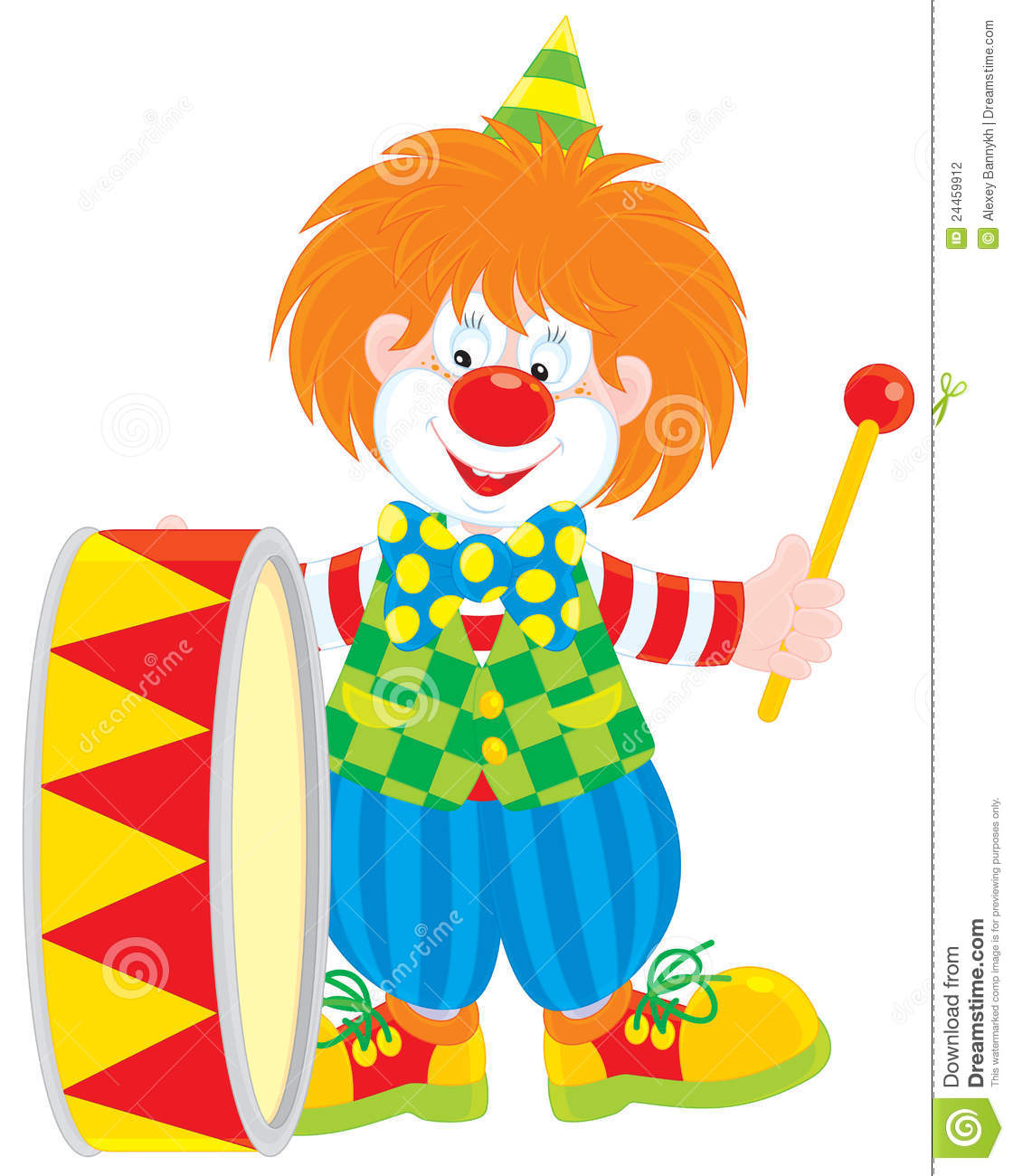 Vector clip-art of a funny red circus clown beating his colorful drum.
