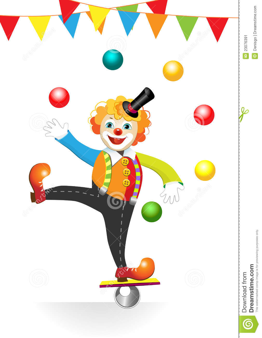 Circus Clown With Flags And Balls Stock Image Image