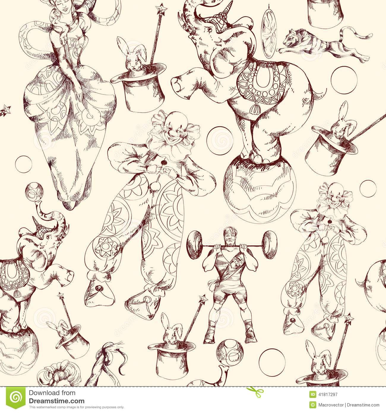 Circus doodle sketch seamless pattern stock vector image for Sketch online free