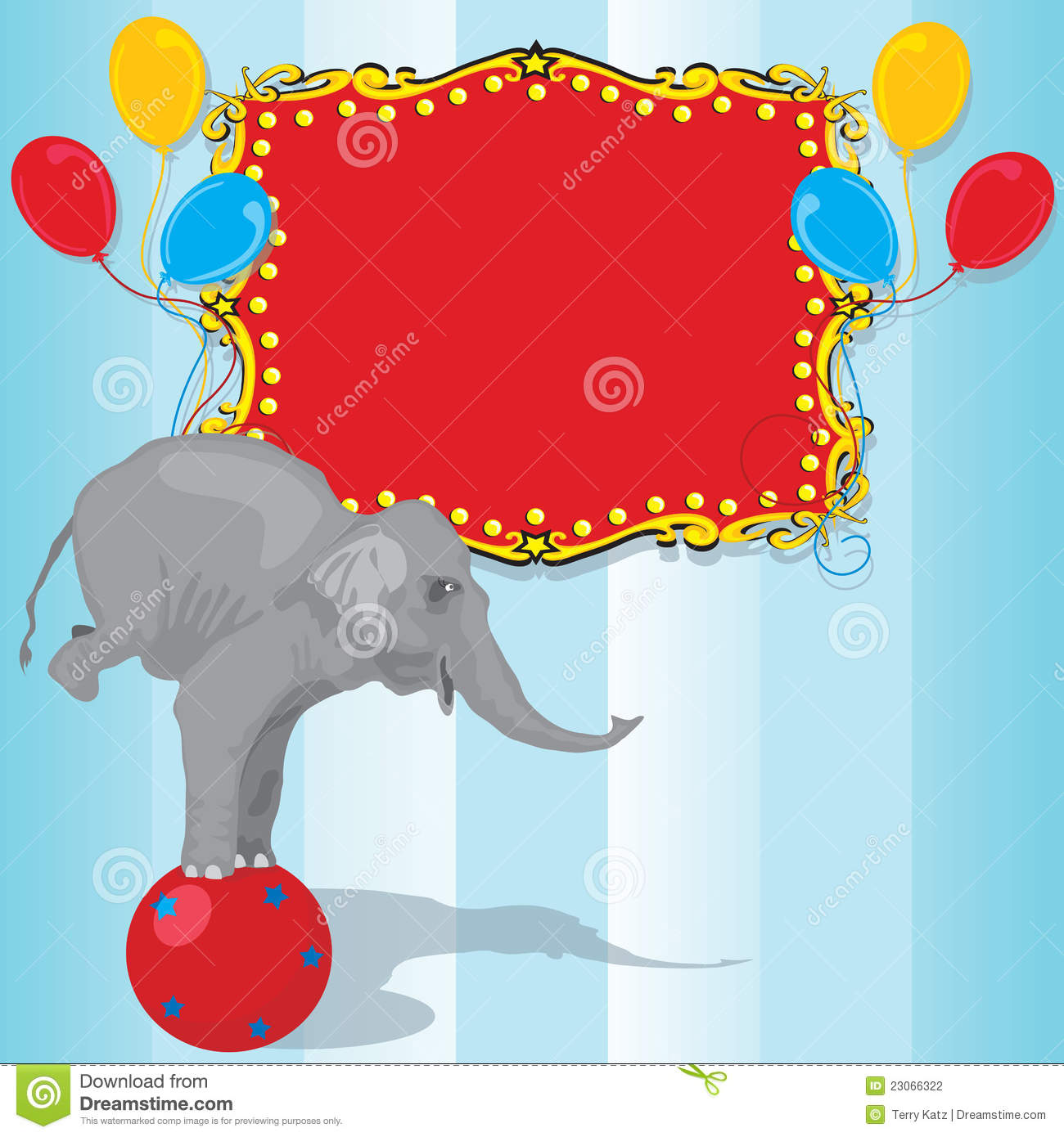 Circus Elephant Birthday Party Invitation Card Stock Photography - Image: 23066322