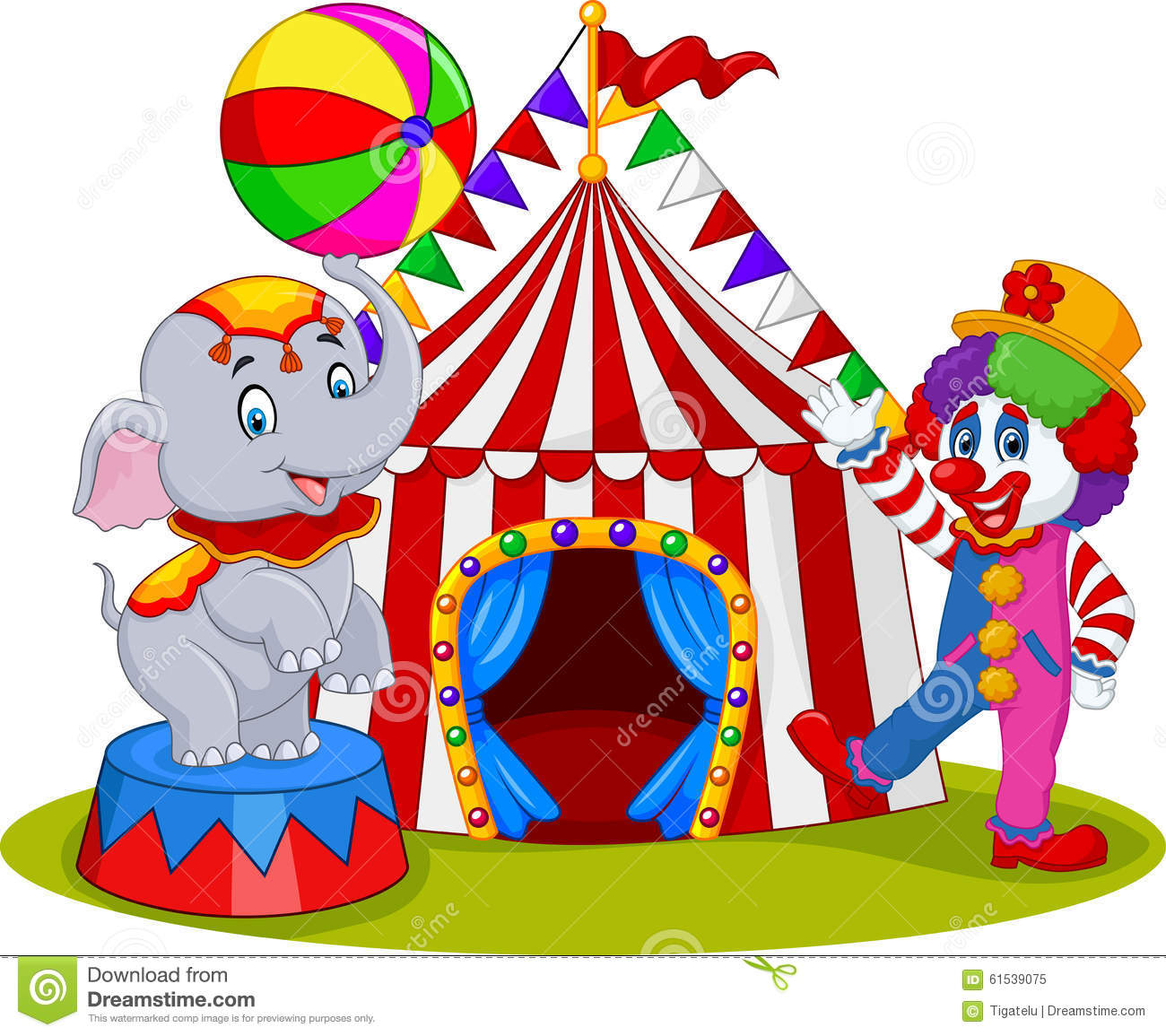 Circus elephant and clown with carnival background stock - Circo joker immagini bambini ...