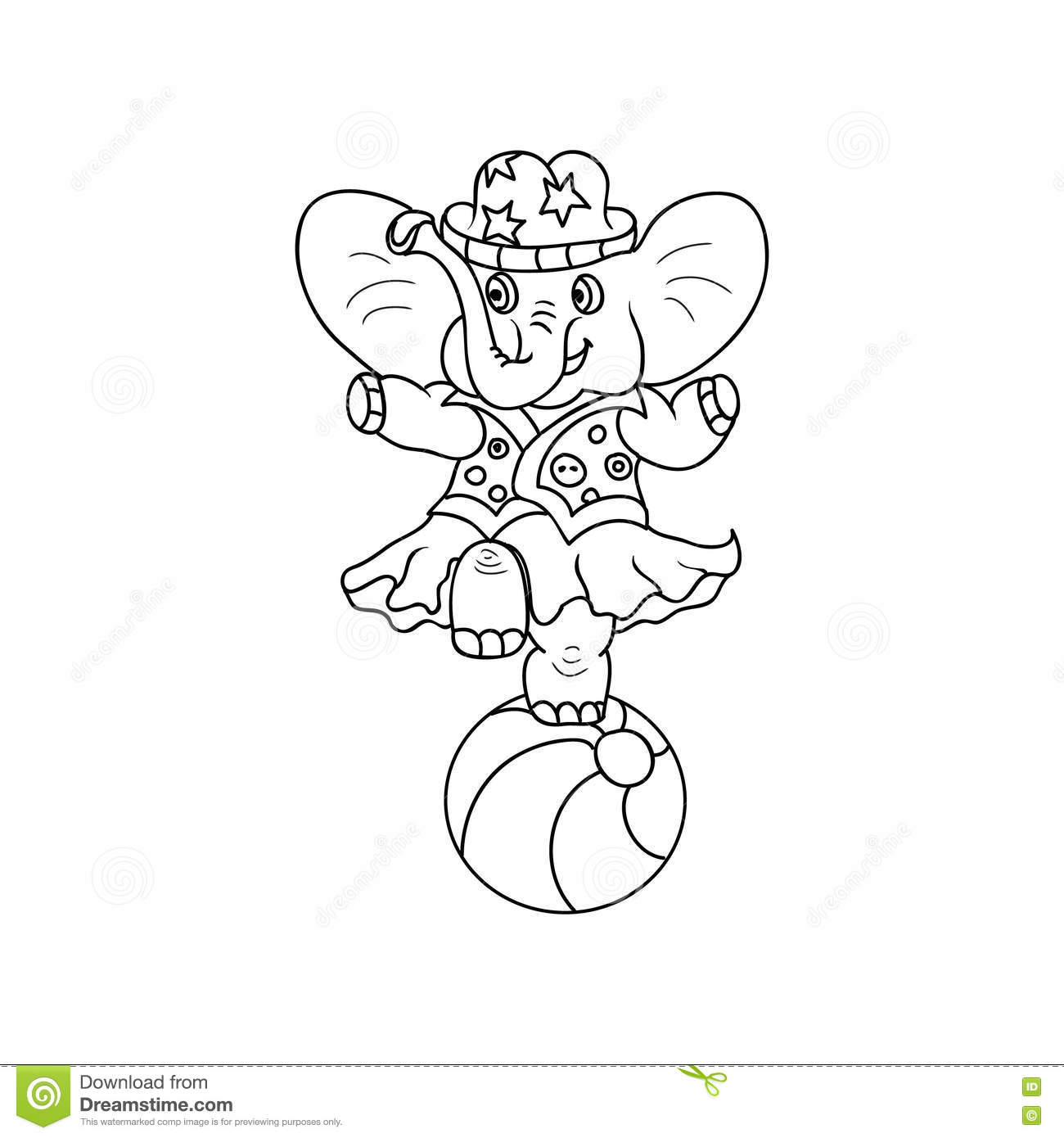 Circus Elephant Kids Coloring Page Stock Illustration - Illustration ...