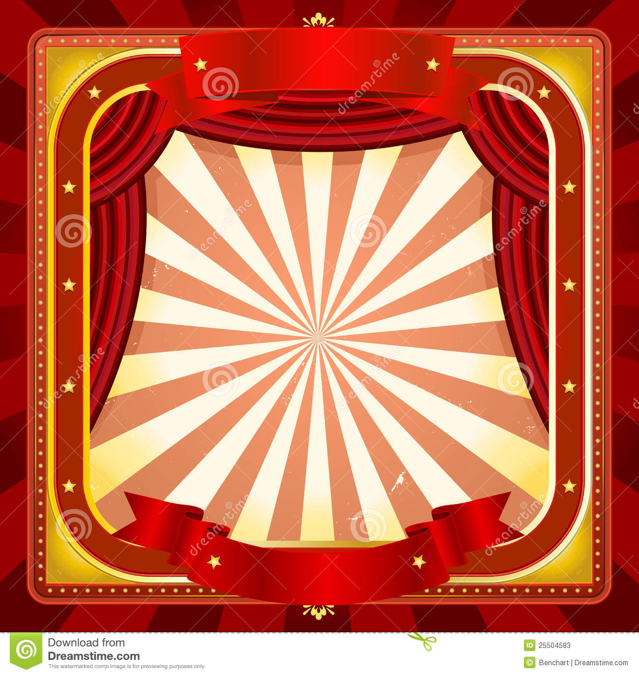 of a square circus frame background with banners, red curtains ...
