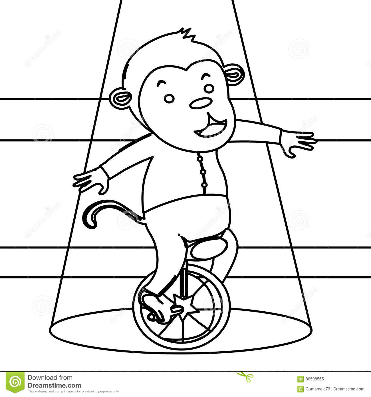 circus monkey on a unicycle coloring page stock illustration
