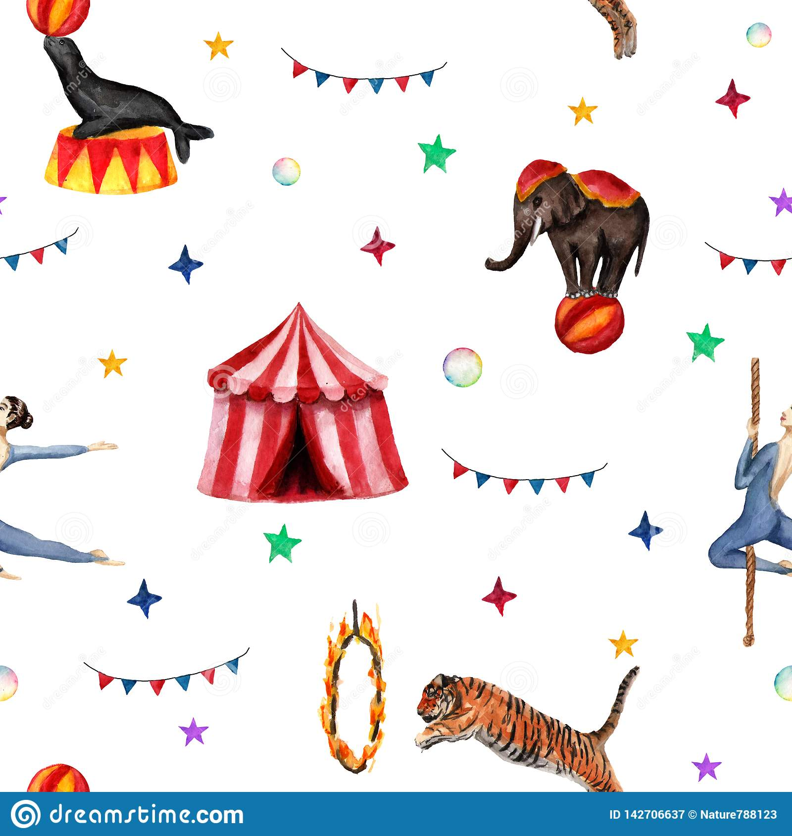 Circus pattern, elephant, seal, tiger, tent, flags, soap bubbles and acrobat. Watercolor illustration on white