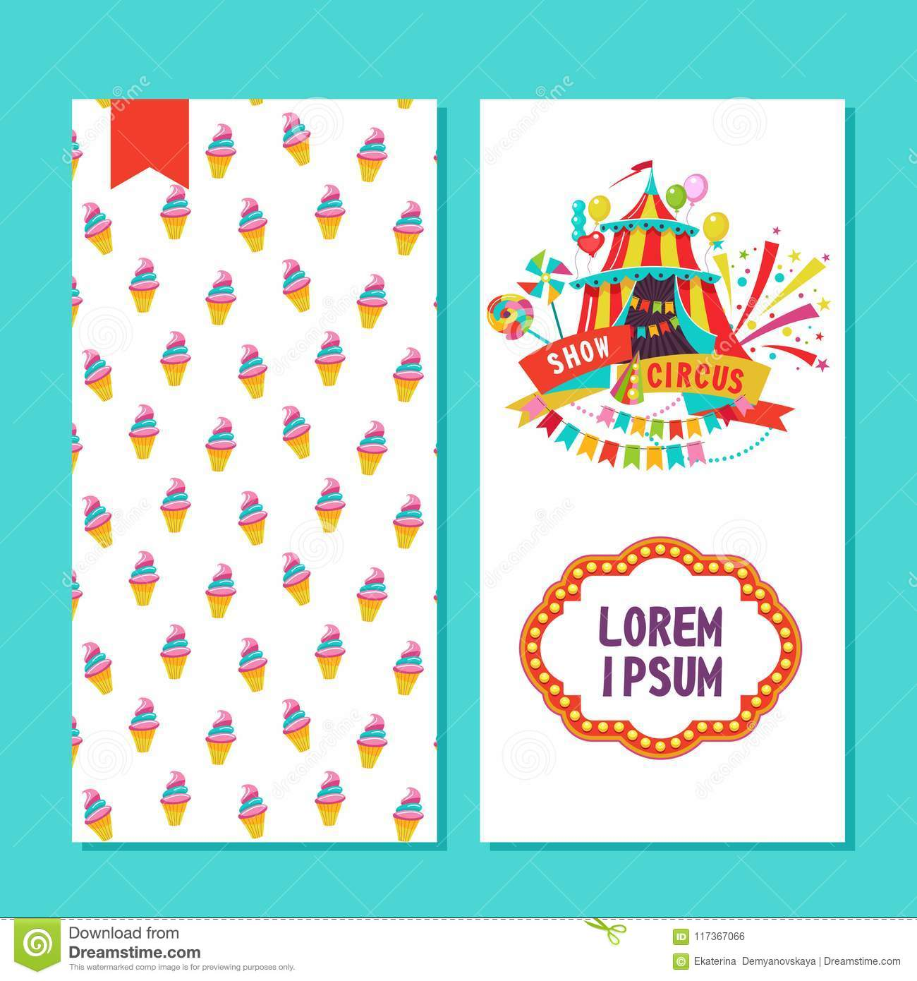 Circus performers two sides poster, flyer or invitation design.