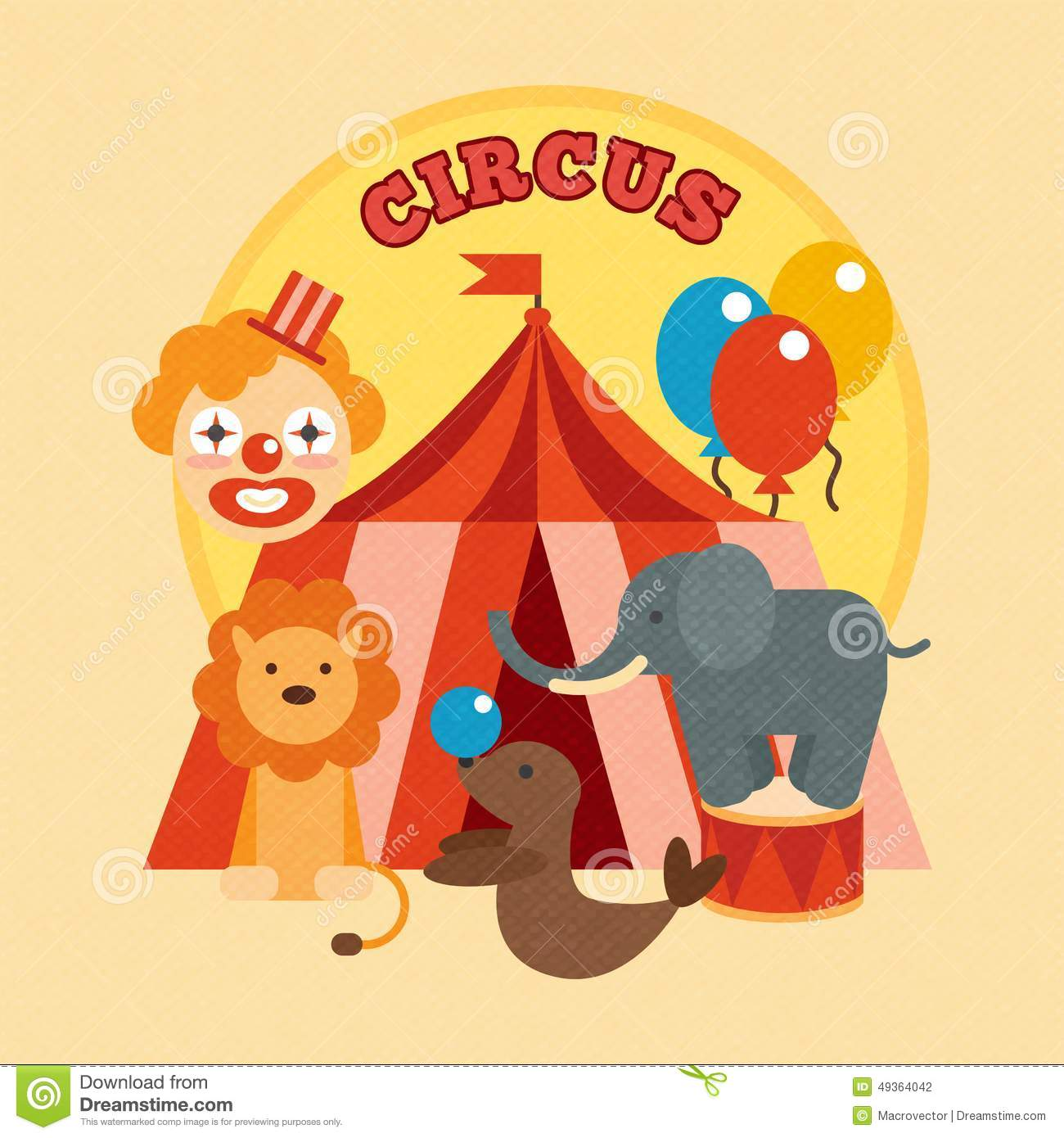 Circus performance poster with tent clown and lion elephant sealion ...