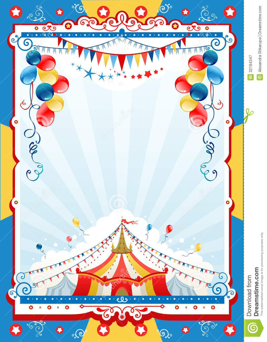 Circus poster stock vector illustration of retro balloon for Circus posters free