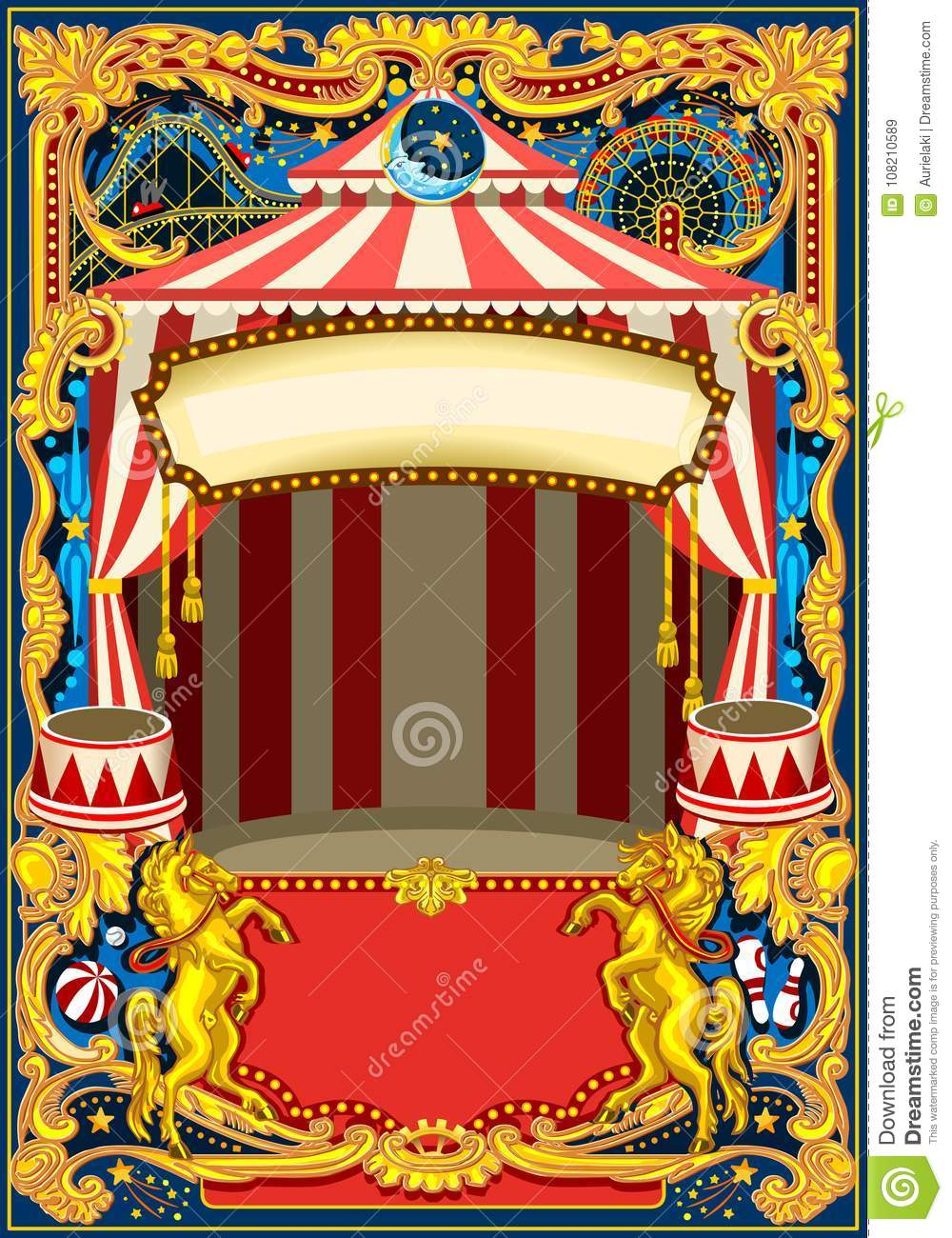 Circus Poster Vector Frame Stock Vector Illustration Of