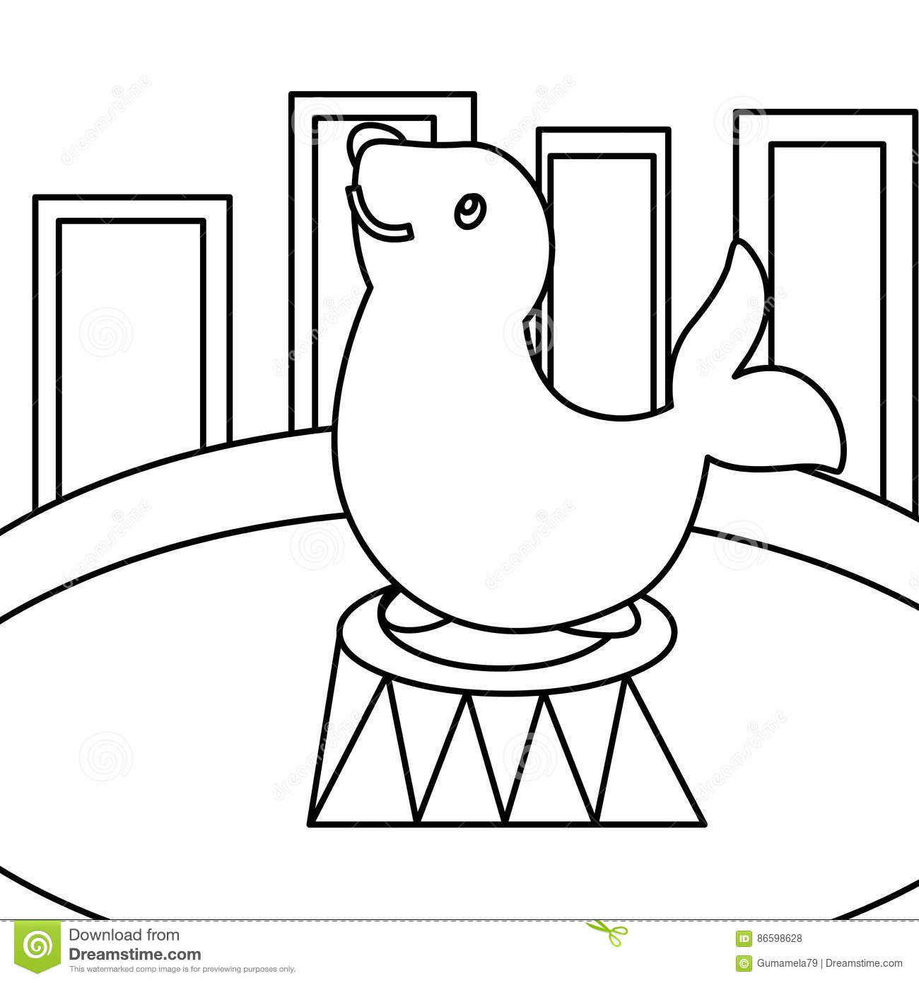 Circus seal coloring page stock illustration. Illustration of ...