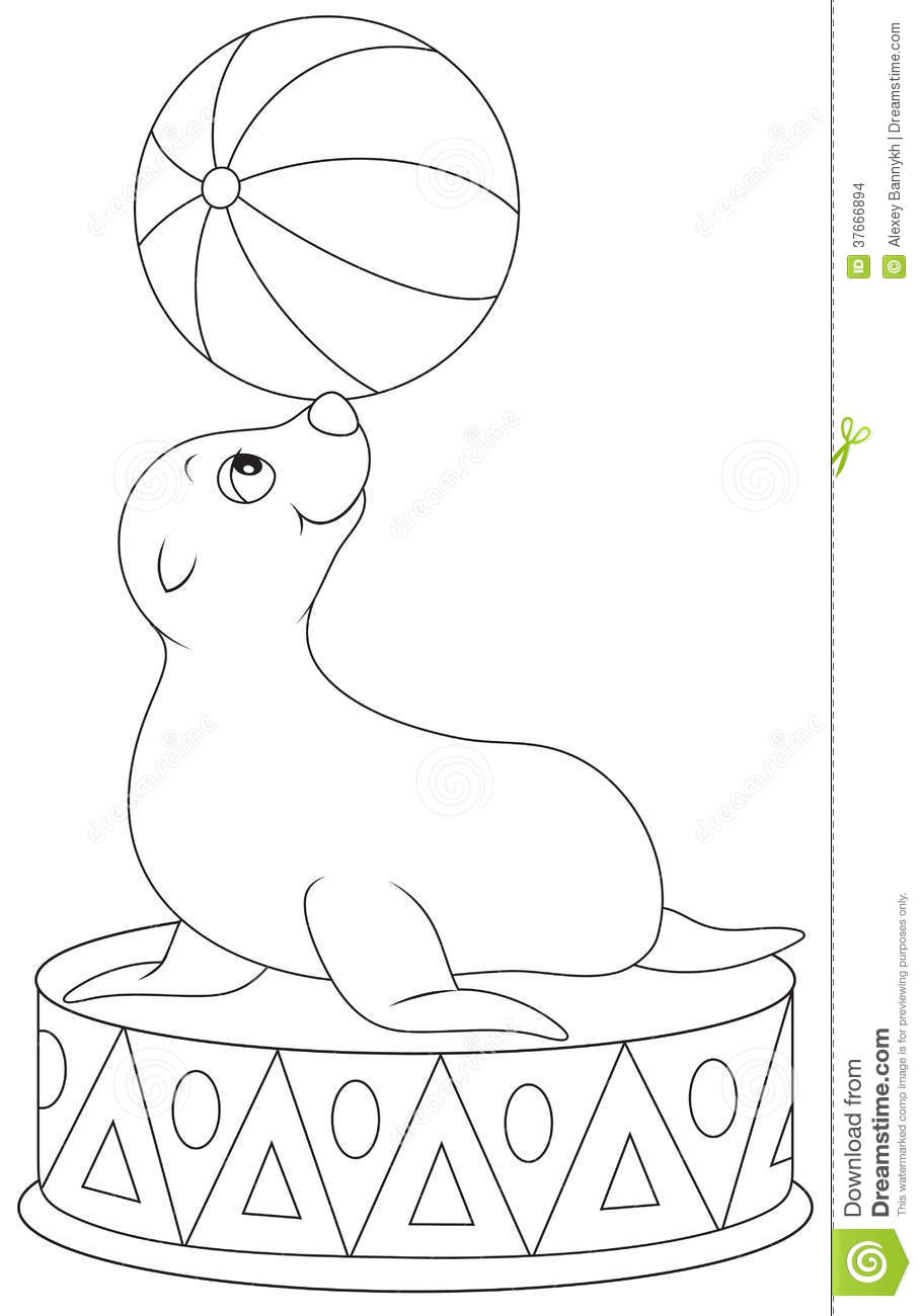 Circus Seal Coloring Pages
