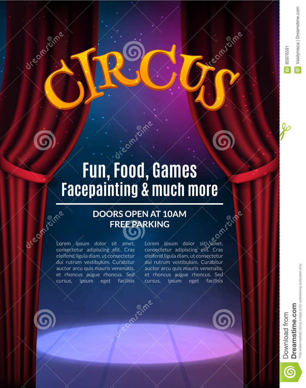 Circus show poster template with sign festive circus for Circus posters free