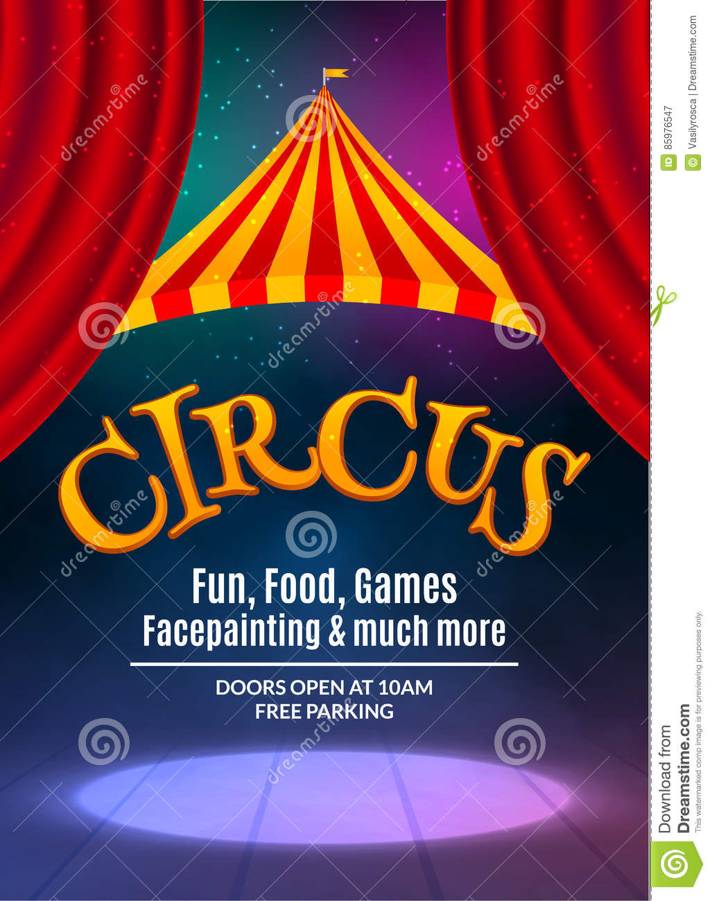 Circus show poster template with sign and light frame. Festive Circus invitation. Vector carnival show illustration