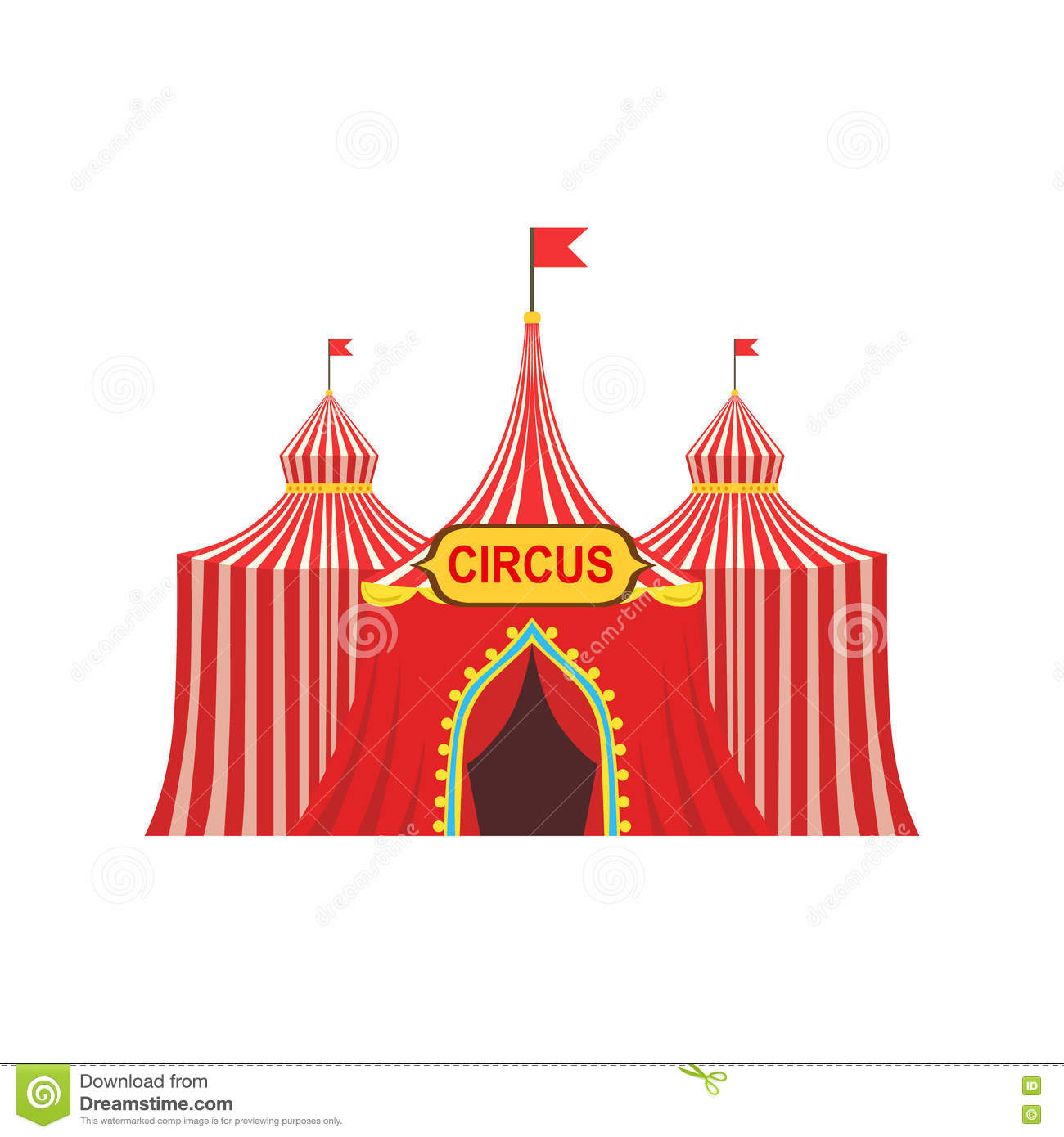 Circus Temporary Tent In Stripy Red Cloth With Flags And Entrance Sign