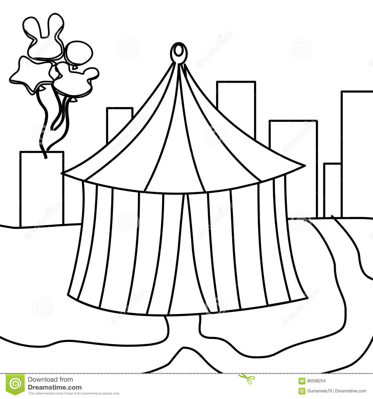 Circus Tent Coloring Page Stock Illustration Illustration Of